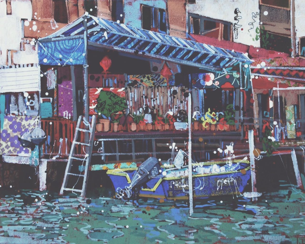 the entire piece!  Tai O Village on Stilts - one of China's many fascinations, mixed media on canvas, 16x20(in), 2016