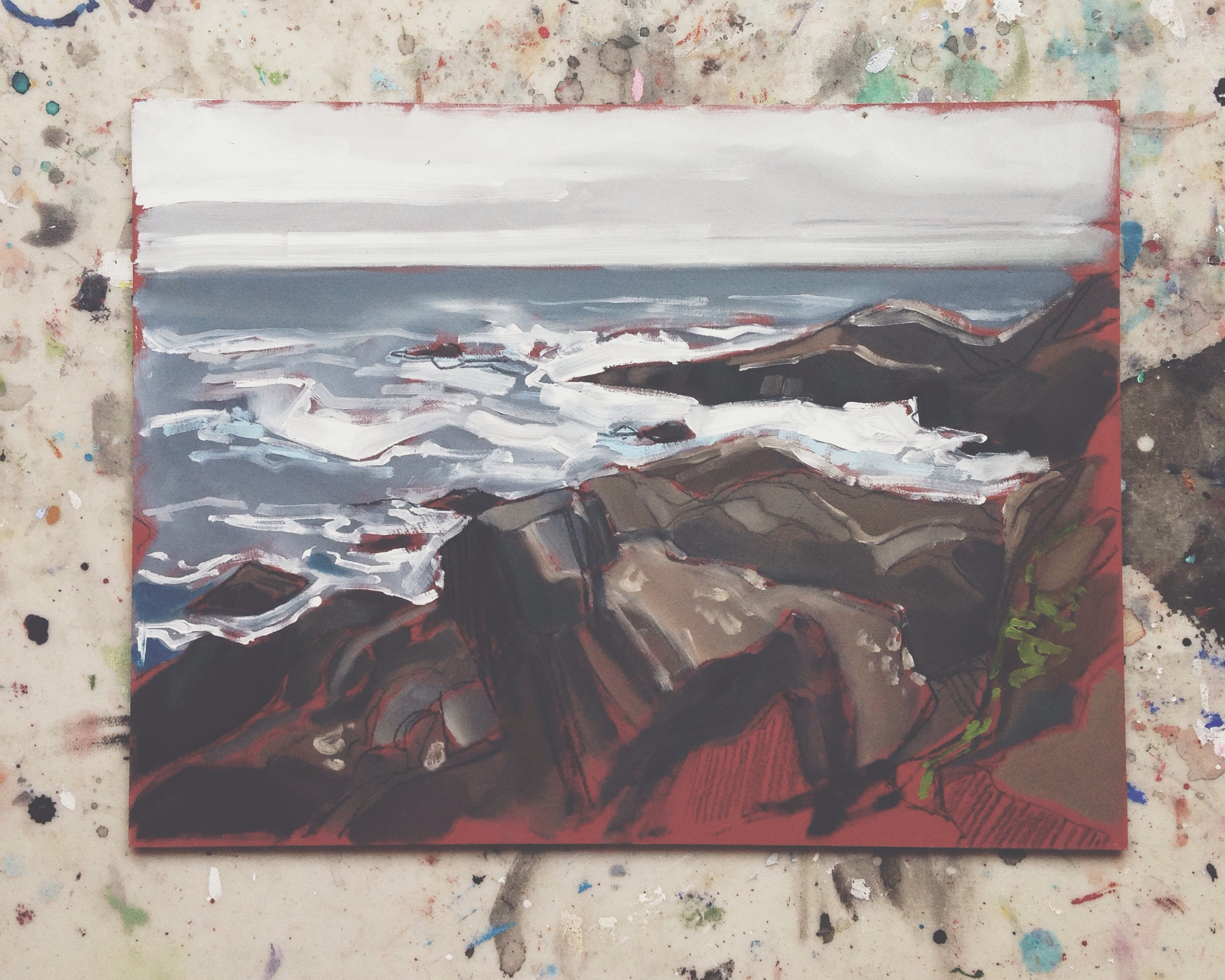 near amphritrite point, ucluelet, charcoal & oil on masonite, 9x12, 2016