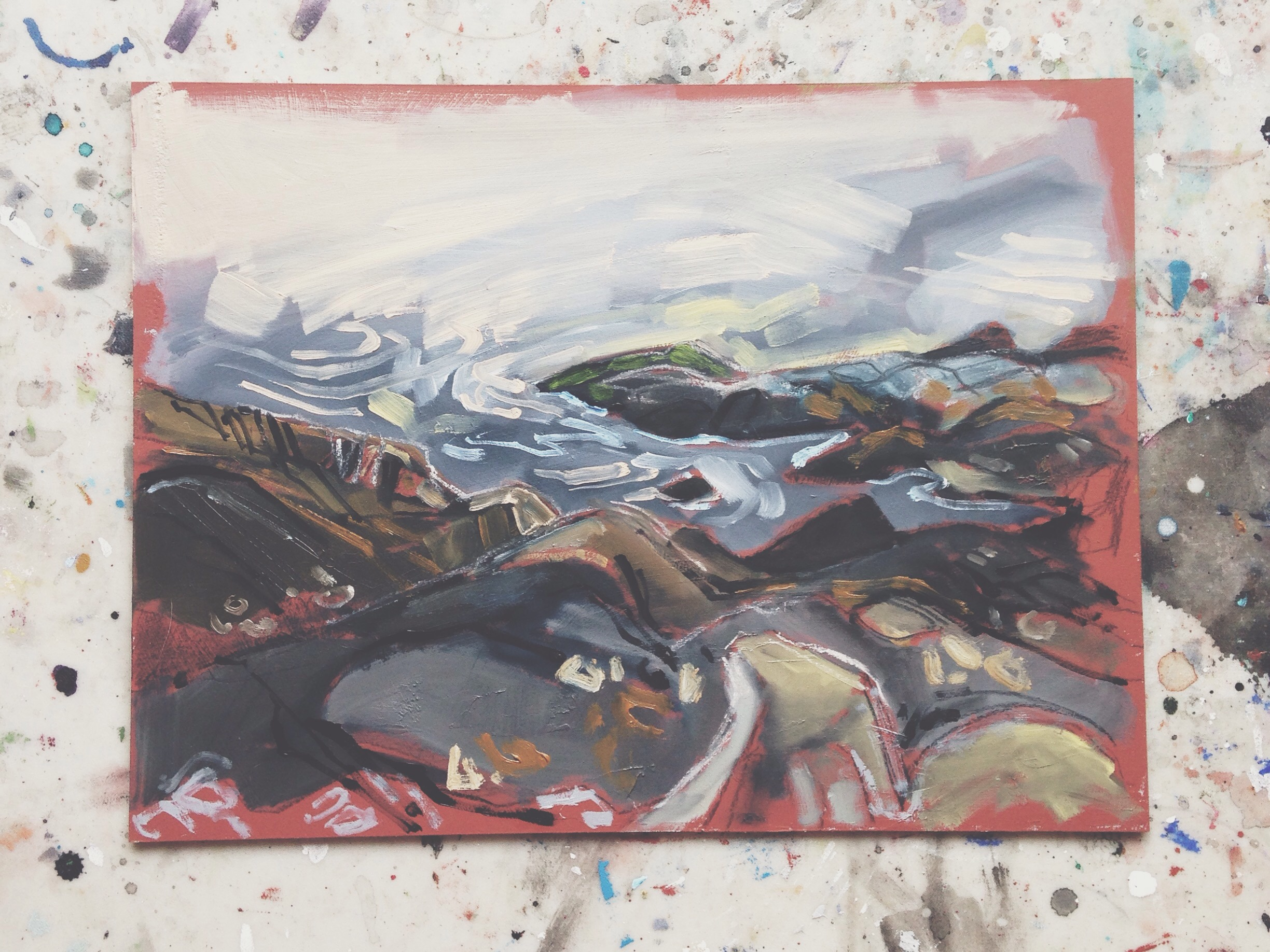 during sunset at macualay point, victoria, charcoal & oil on masonite, 9x12, 2016