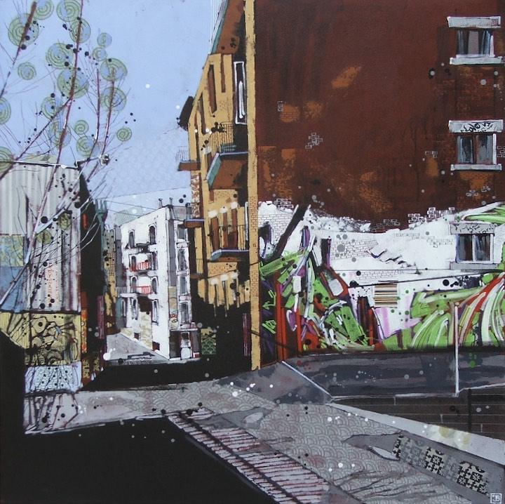 Montreal alleyway #1, mixed media on canvas, 36x36, $1950 + tax, 2016