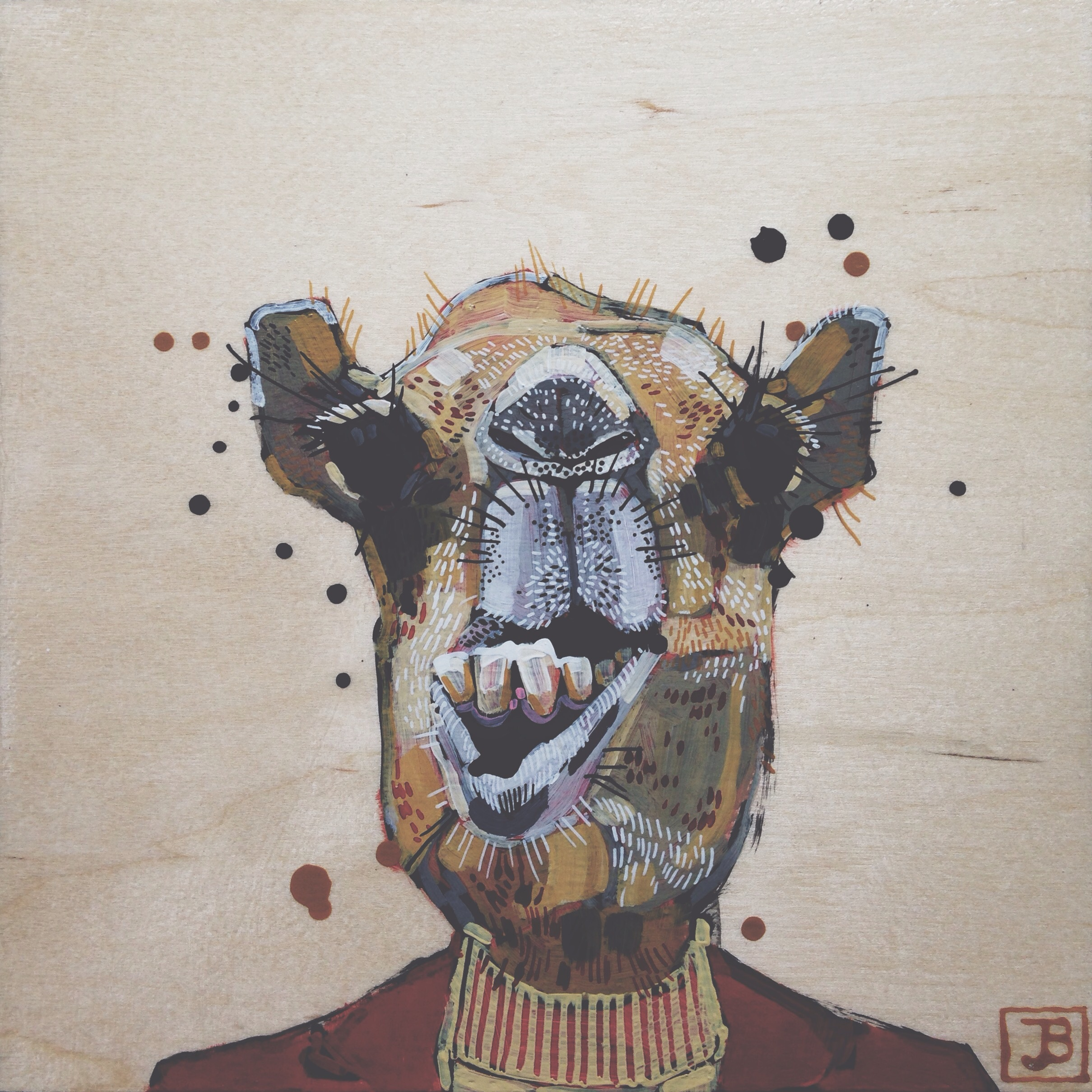 camel, mixed media on wood panel, 8x8, 2016