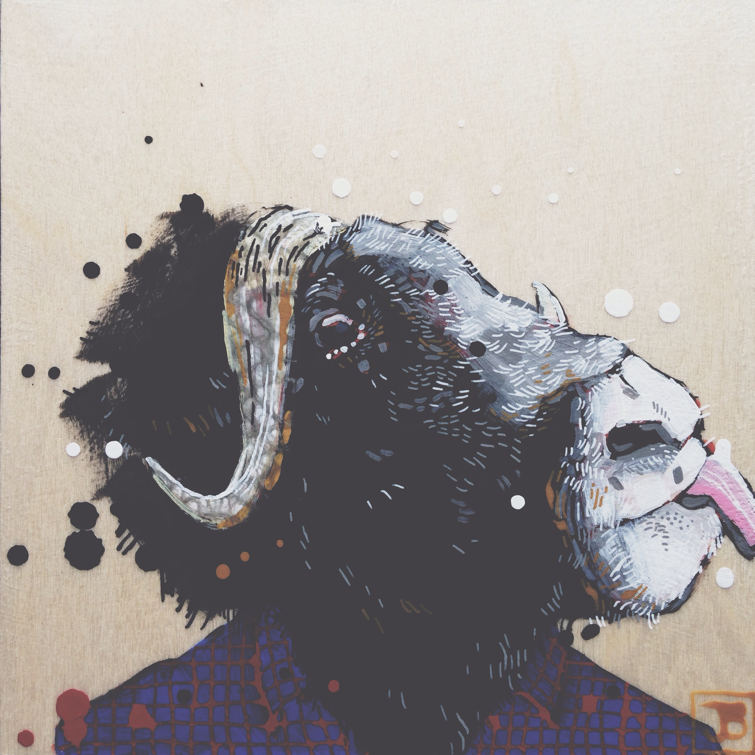 musk ox, mixed media on wood panel, 8x8, 2016