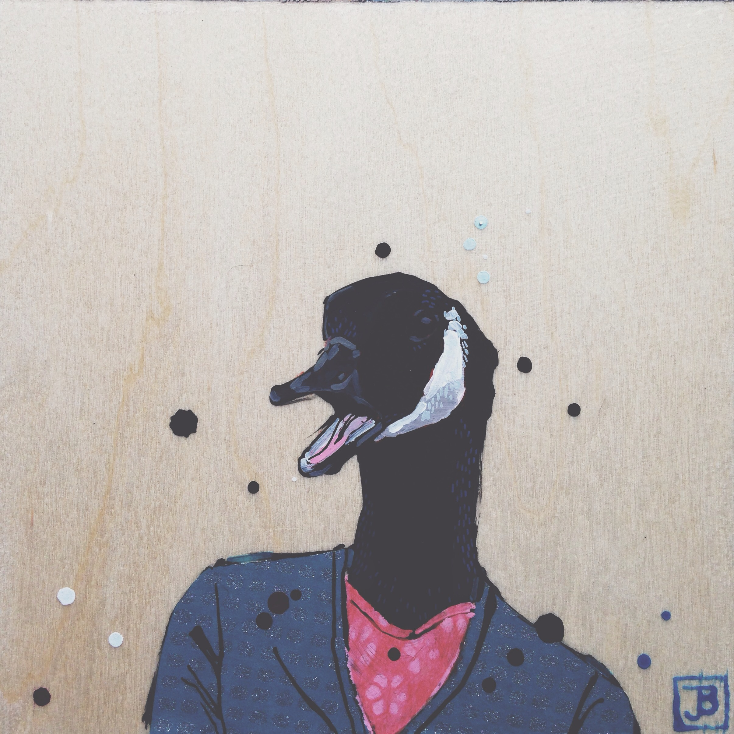 Canada goose, mixed media on wood panel, 8x8, 2016