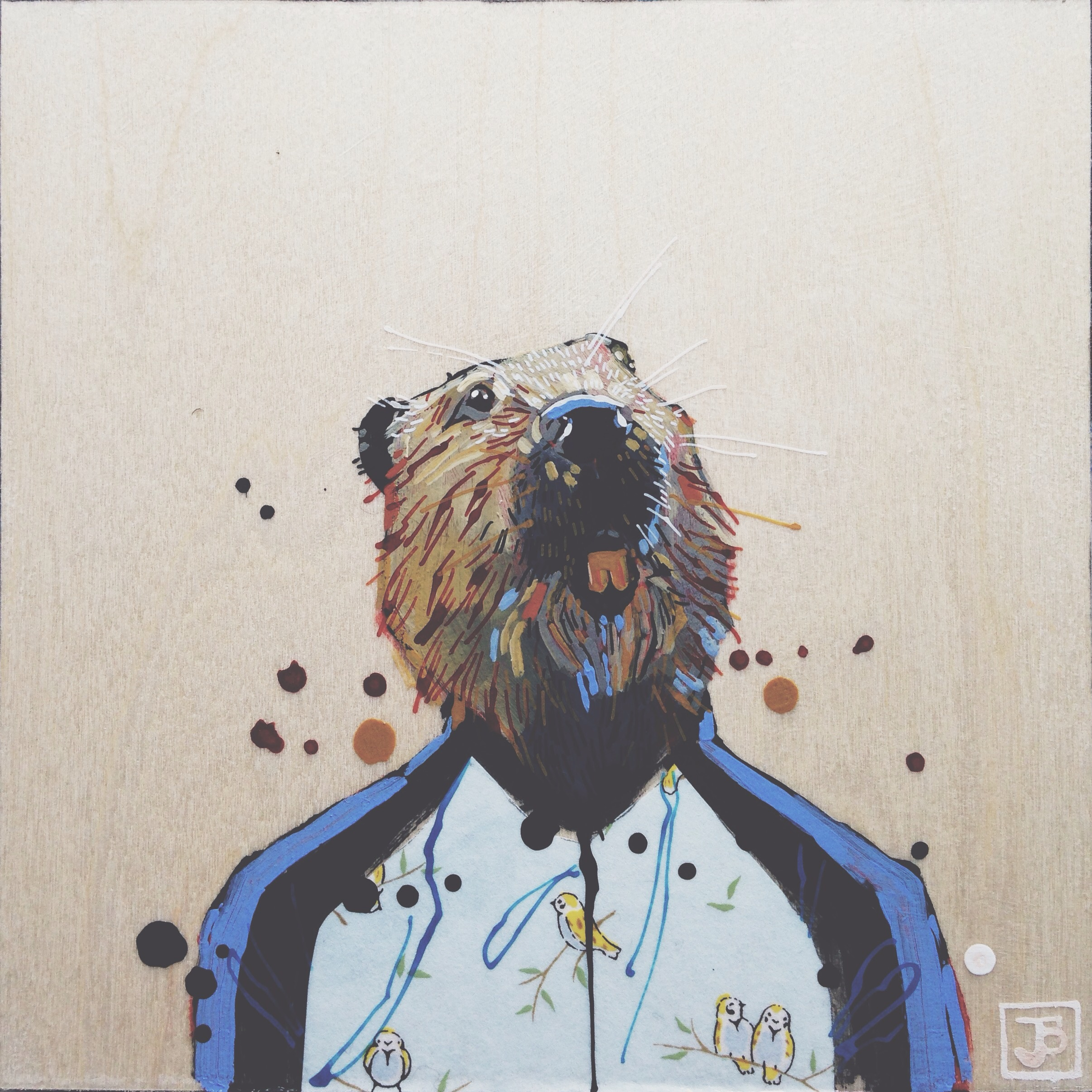beaver, mixed media on wood panel, 8x8, 2016