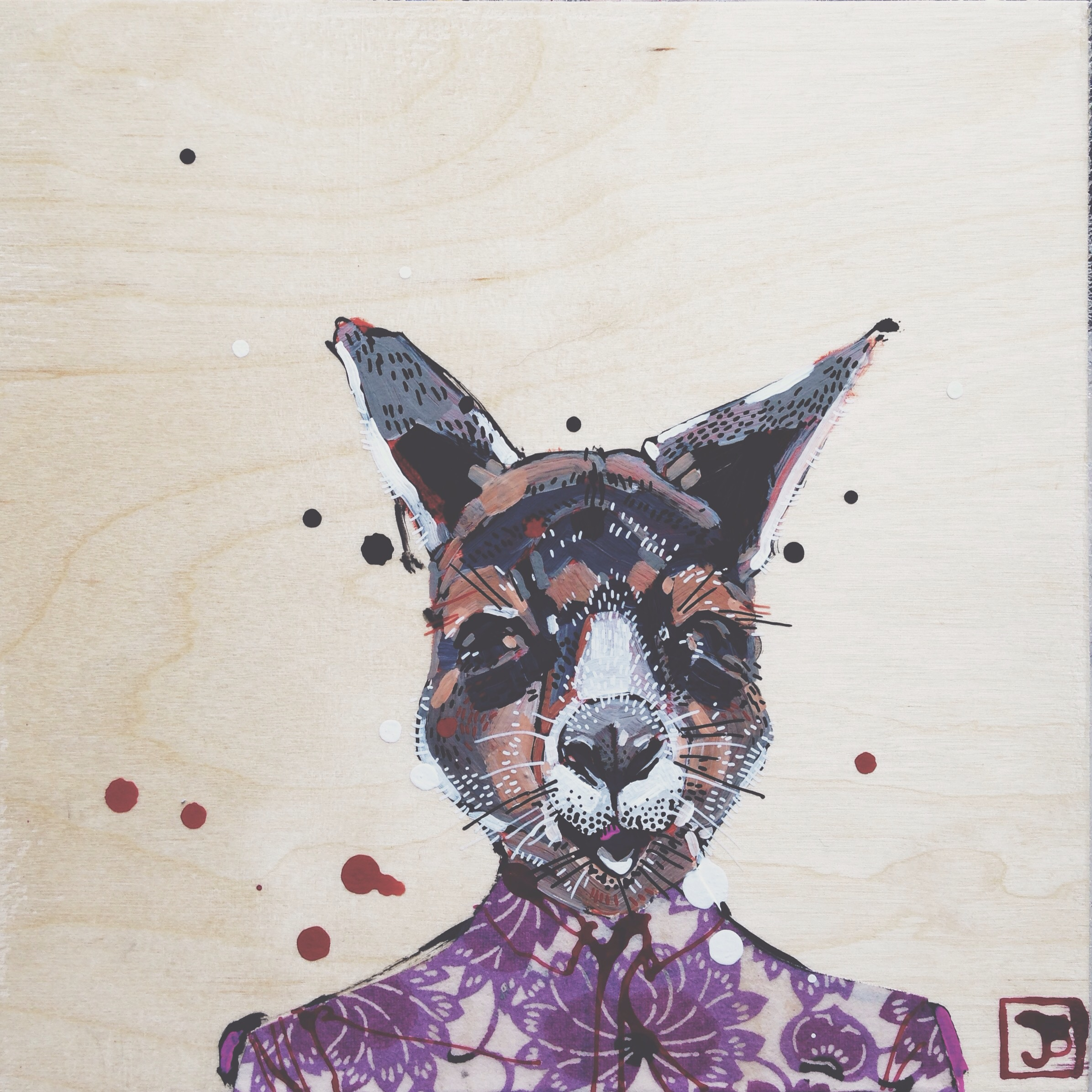 kangaroo, mixed meds on wood panel, 8x8, 2016