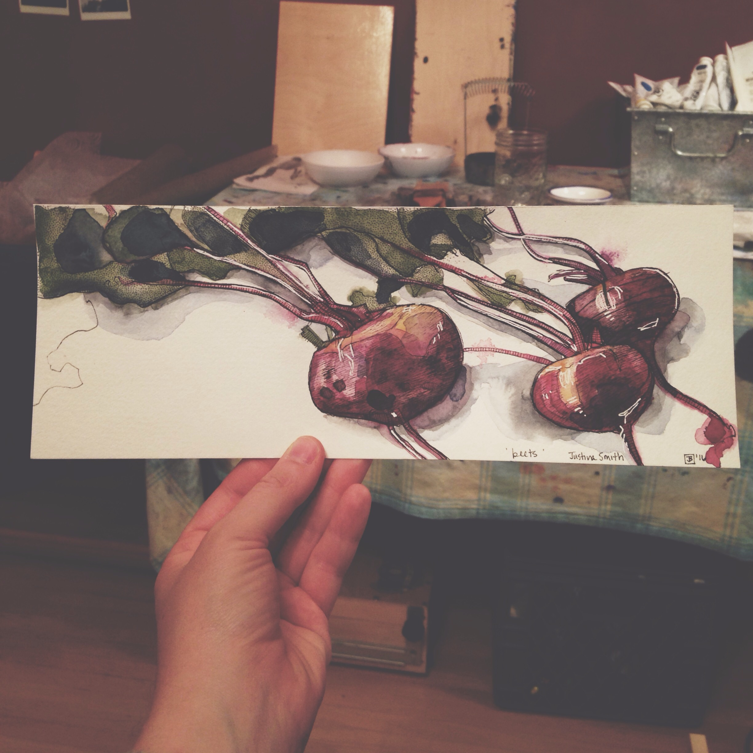 beets, pen & watercolour on cold pressed paper, 4x12(in), 2016