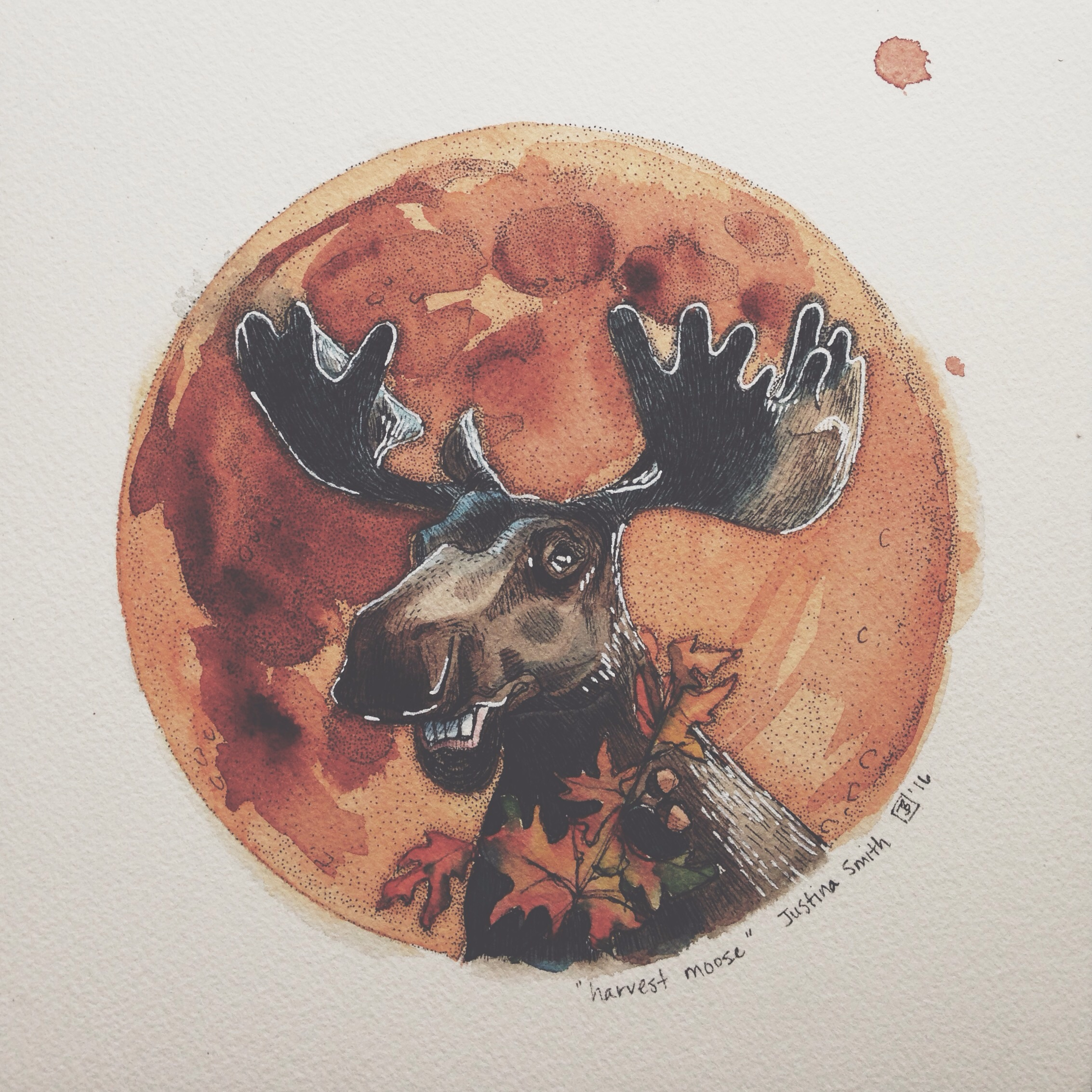 harvest moose, pen & watercolour on cold pressed paper, 8x8(in), 2016