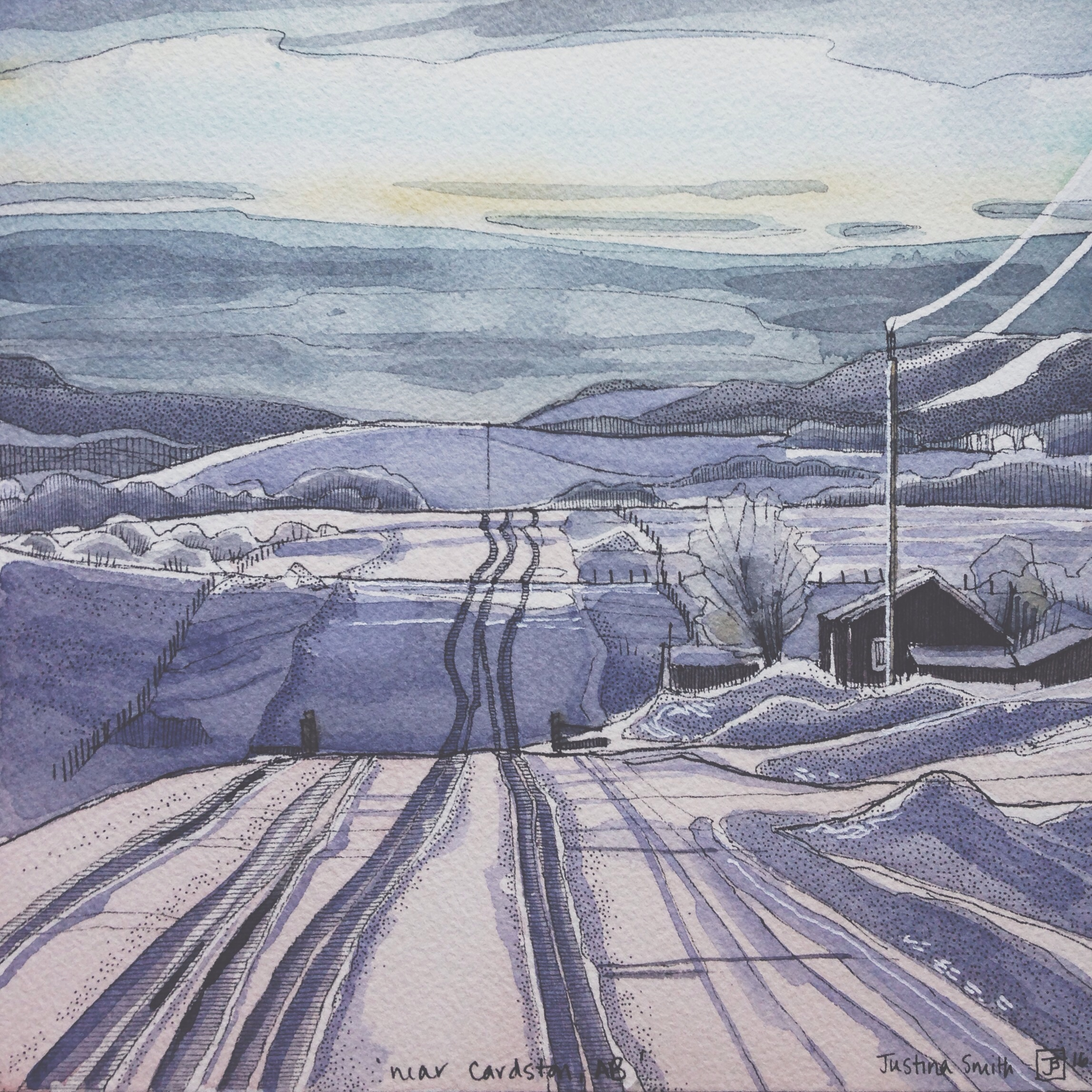 near Cardston Alberta, pen & watercolour on cold pressed paper, 8x8(in), SOLD, 2016