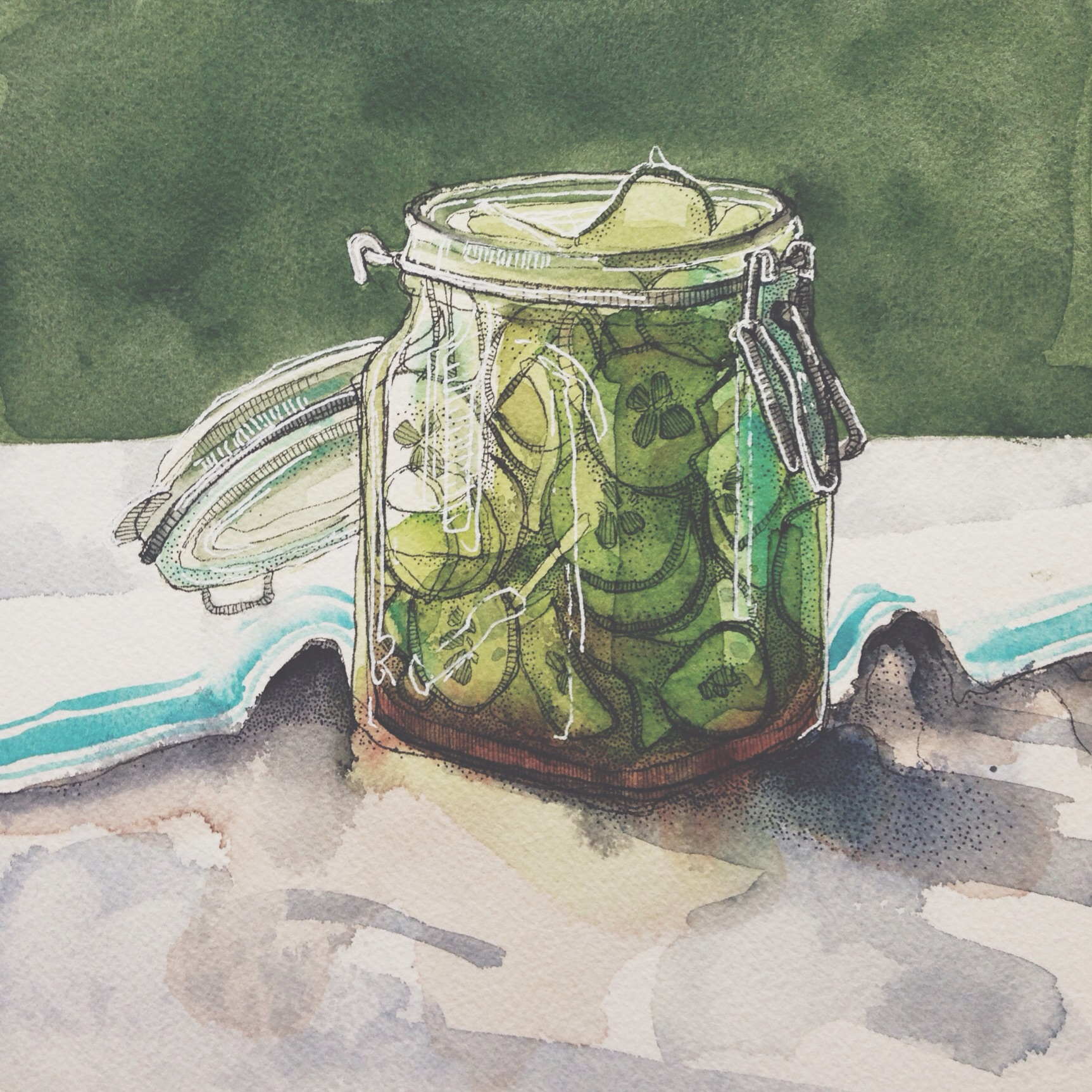 pickles, pen & watercolour on cold pressed paper, 8x8(in), $100 + tax, 2016