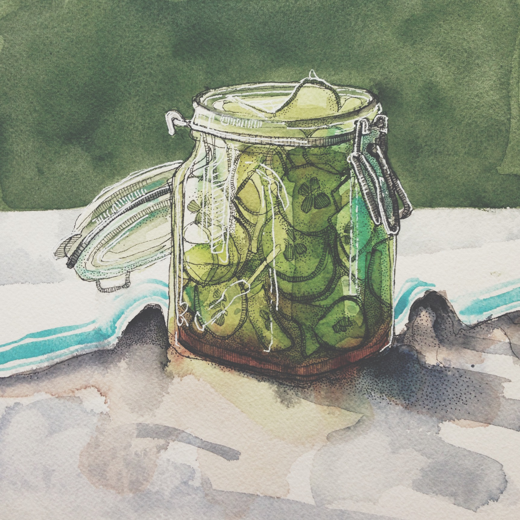 pickles, pen & watercolour on cold pressed paper, 8x8(in), $100 + GST, 2016