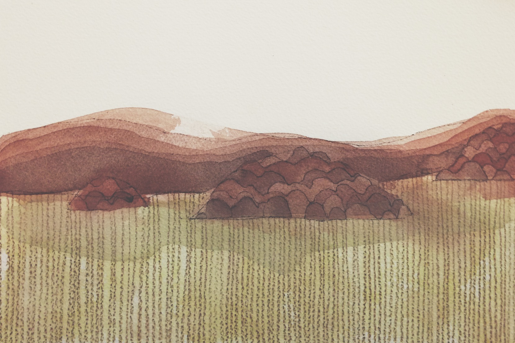 continuing from a drawing i started last night about a field of tall grasses with trees islands jutting out from it.