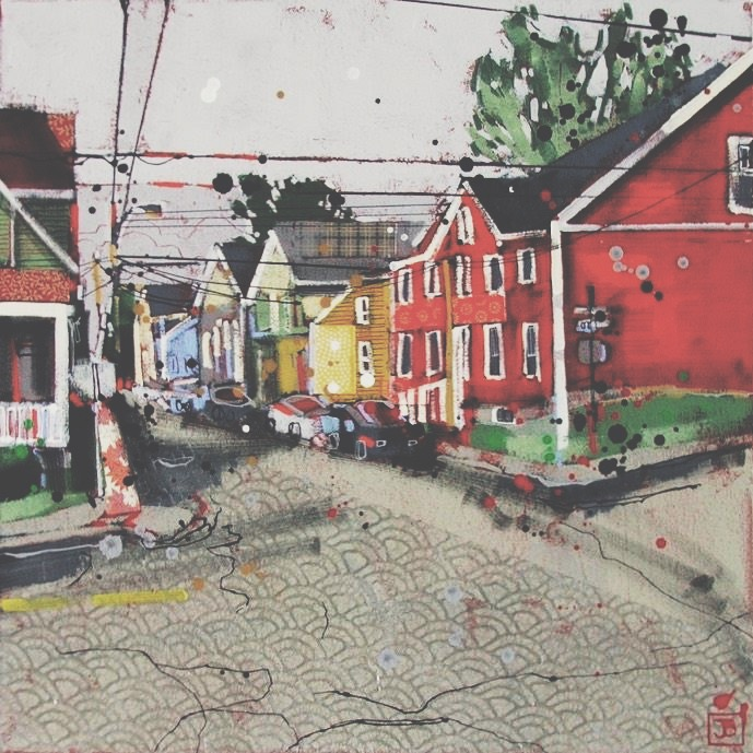 down the street from where you live (charlottetown, pei), mixed media on canvas, 16x16(in), $385 + GST, 2016