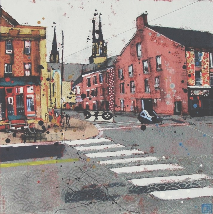 just across the street (charlottetown, pei), mixed media on canvas, 16x16(in), $385 + GST, 2016