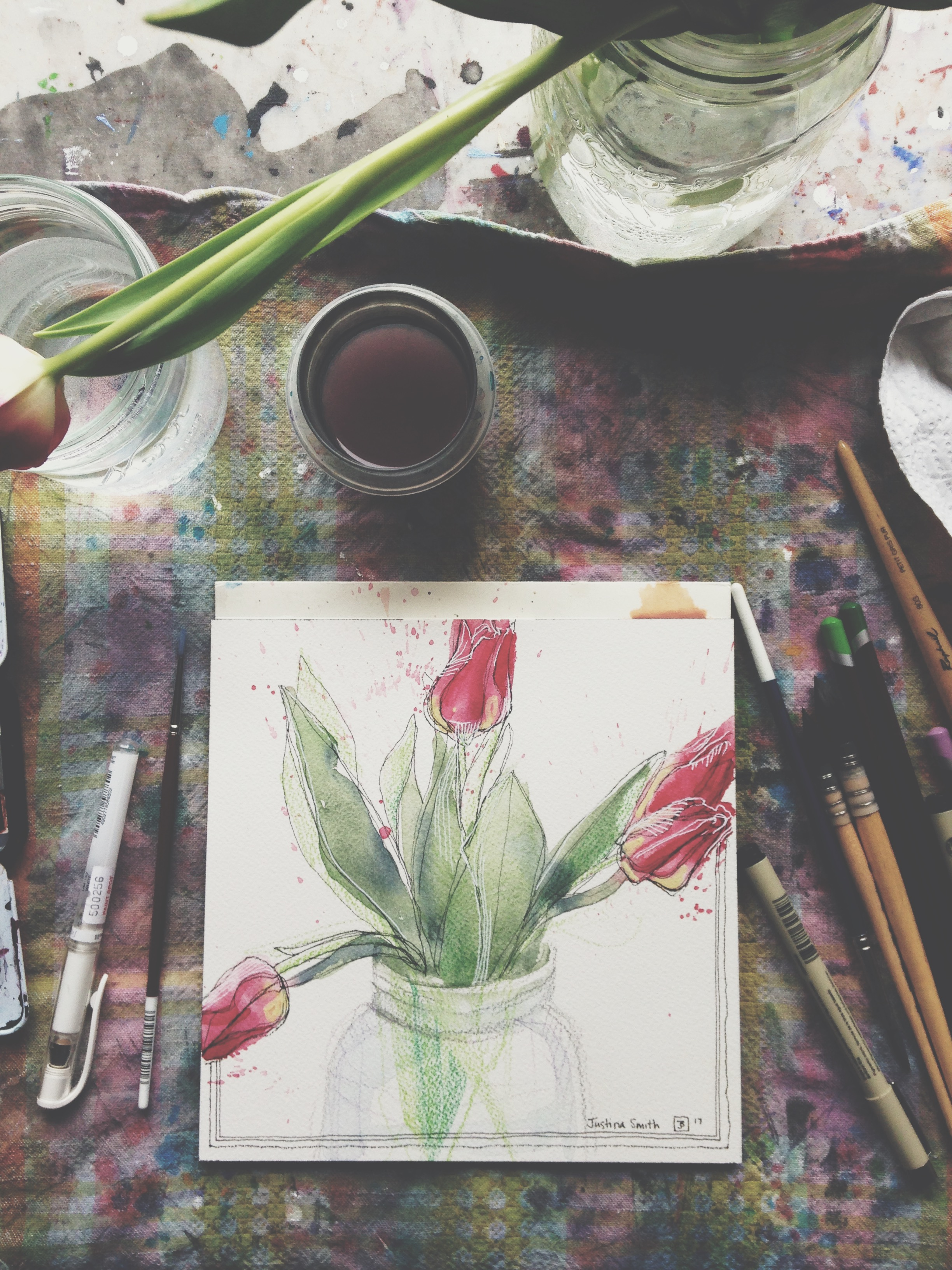 tulips, pen, watercolour & soft pencil crayons on cold pressed paper, 8x8(in), $80 + GST, 2017 and FREE SHIPPING if you are outside of Edmonton!