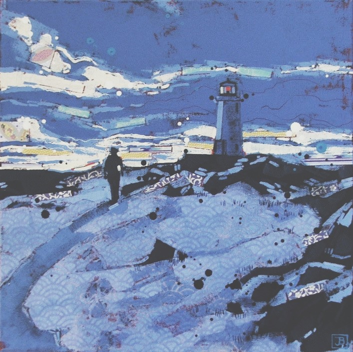 january sunset, peggy's cove, mixed media on canvas, 14x14(in),  SOLD, 2017