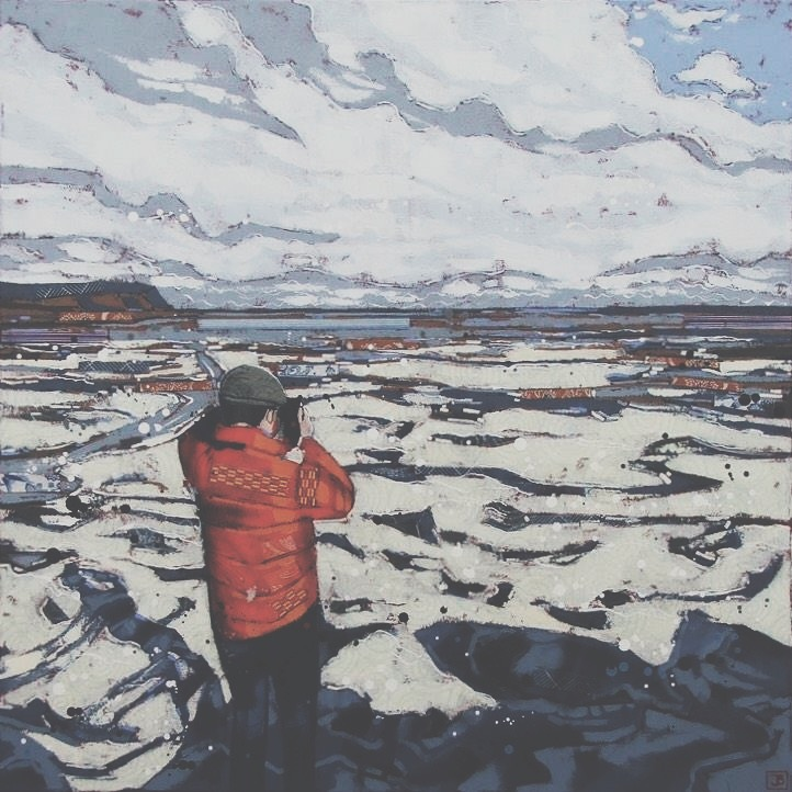 capturing frozen moments on evangeline beach, mixed media on canvas, 30x30(in), $1350 + GST, 2017