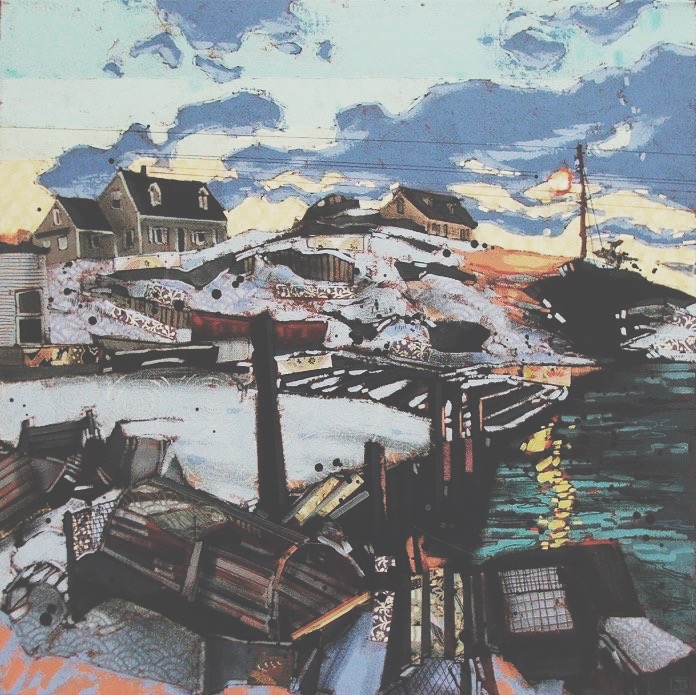 january evening, peggy's cove II, mixed media on canvas, 24x24(in), SOLD,   2017
