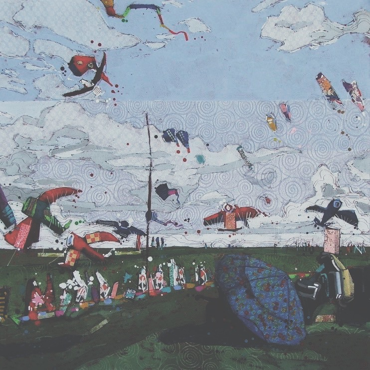 an afternoon at the Windscape Kite Festival (swift current, SK), mixed media on canvas, 36x36(in), $2270 + GST, 2017