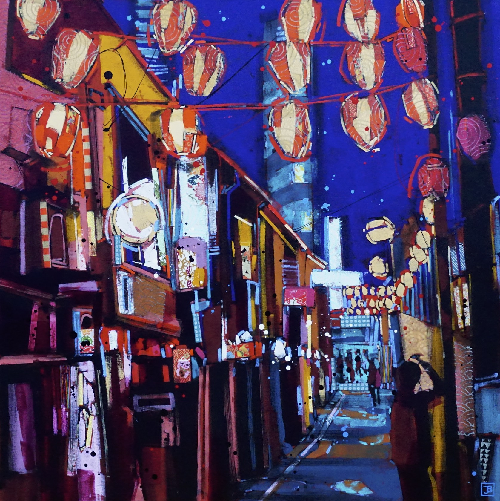 nonbei yokocho or drunkard's alley, tokyo, japan,  mixed media on canvas, 30x30(in),  SOLD  ,  2018