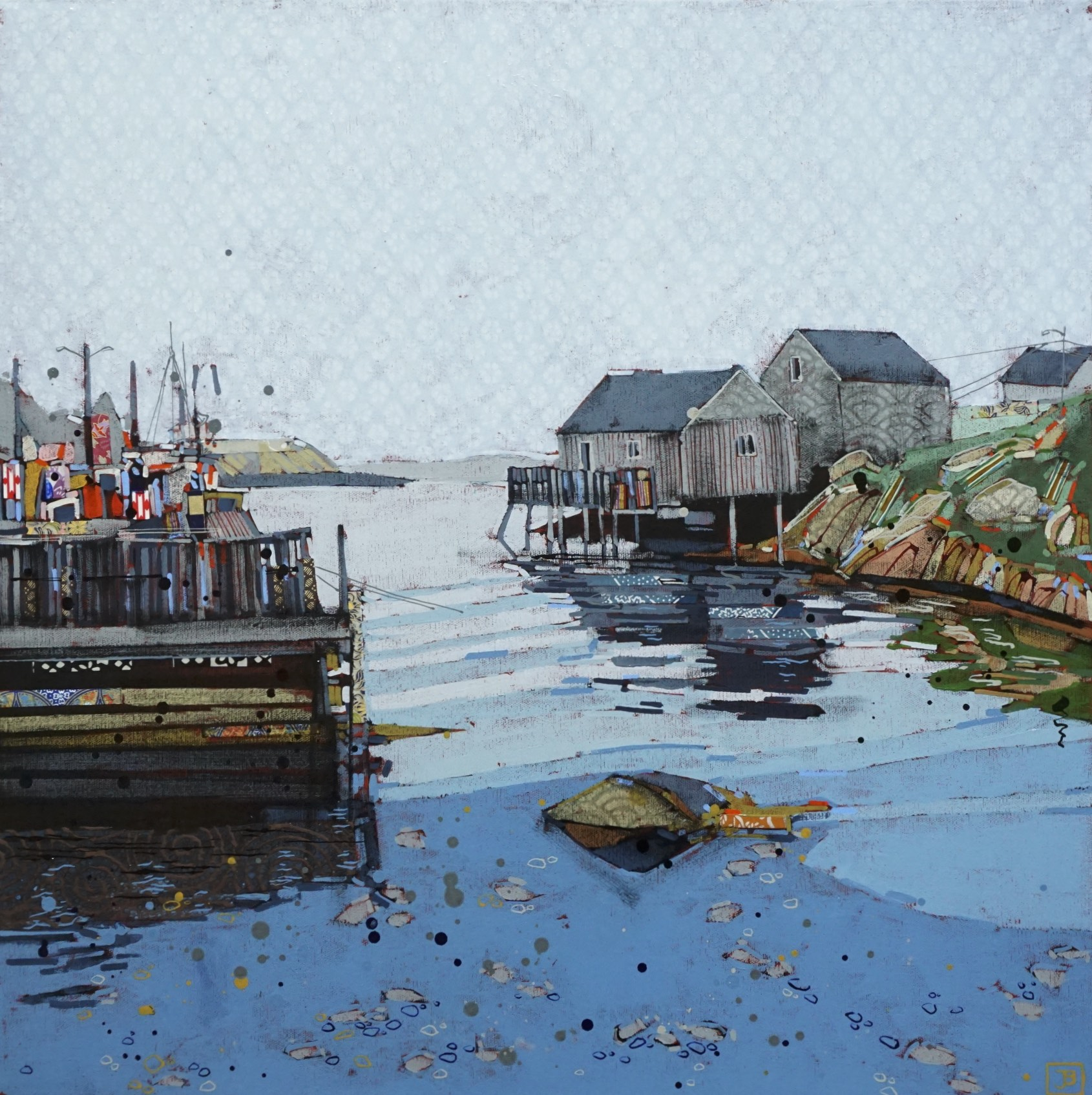 overcast day, peggy's cove, NS  ,  mixed media on canvas, 24x24(in), $1010 + GST,  2018