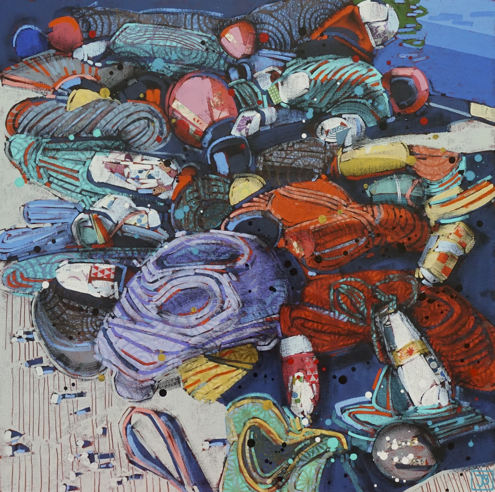 buoys and colorful rope, peggy's cove, NS,  mixed media on canvas, 20x20(in), $700 + GST,  2018