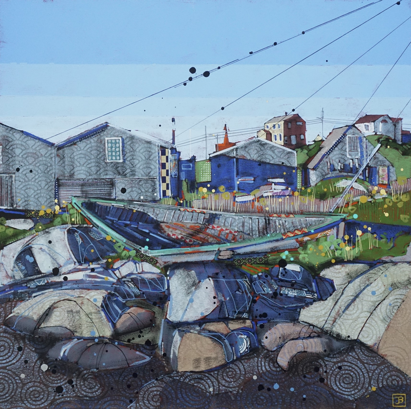 old boat with buildings, peggy's cove, NS,  mixed media on canvas, 24x24(in), $1010 + GST,  2018