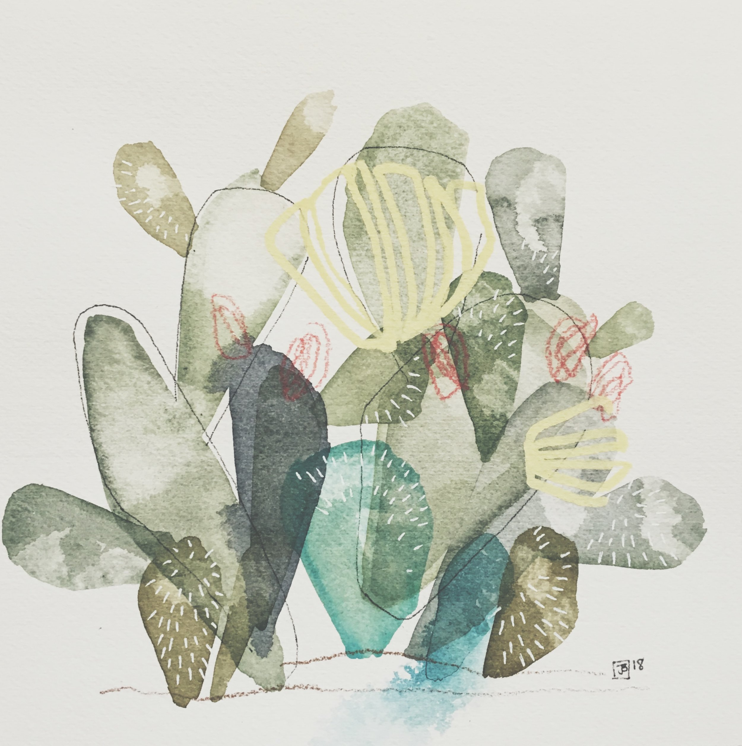 prickly pear I,  mixed media on cold pressed paper, 8x8(in)The, $80 + GST,  2018
