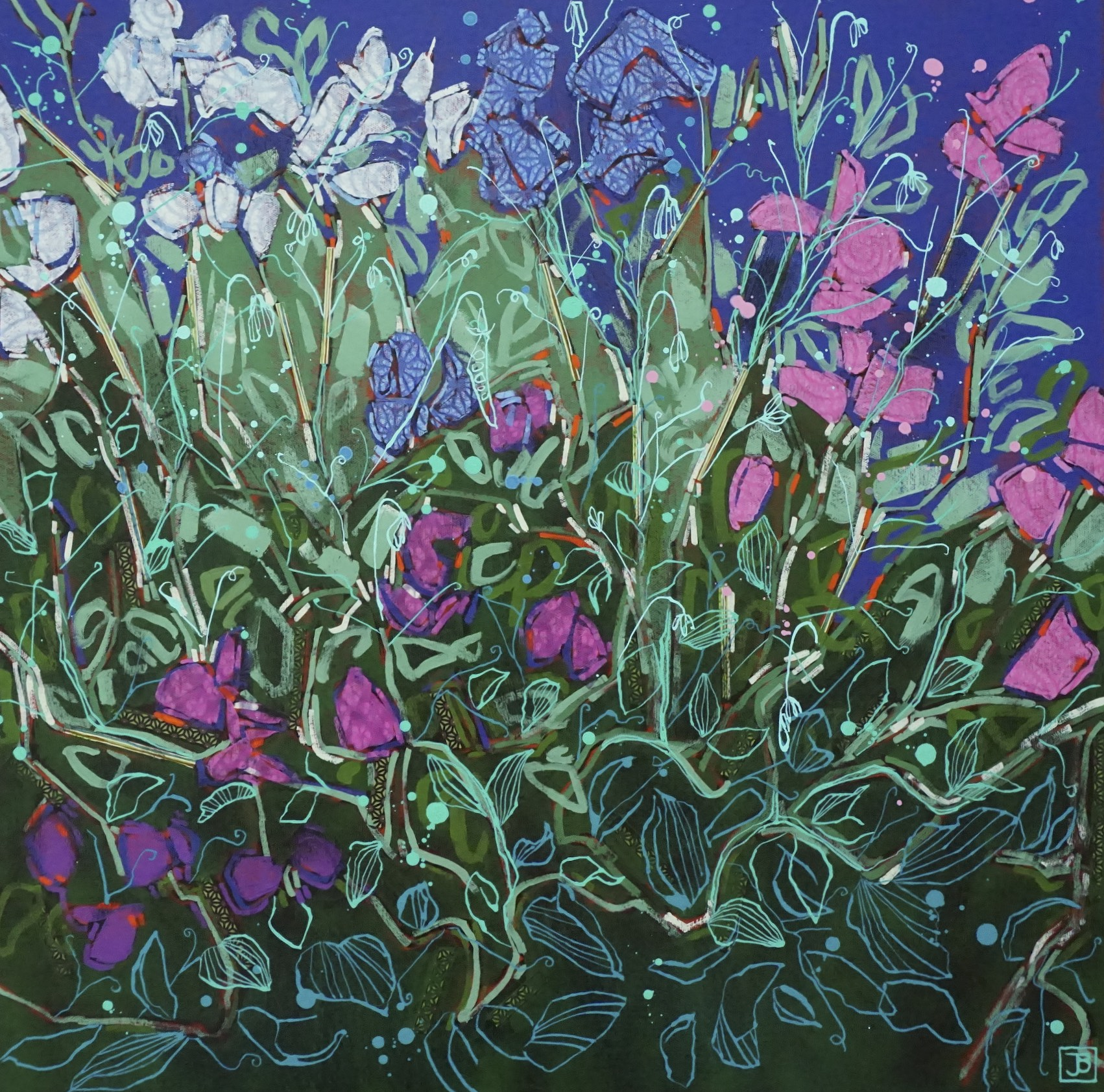 sweetpeas,  mixed media on canvas, 24x24(in), $1010 + GST,  2018