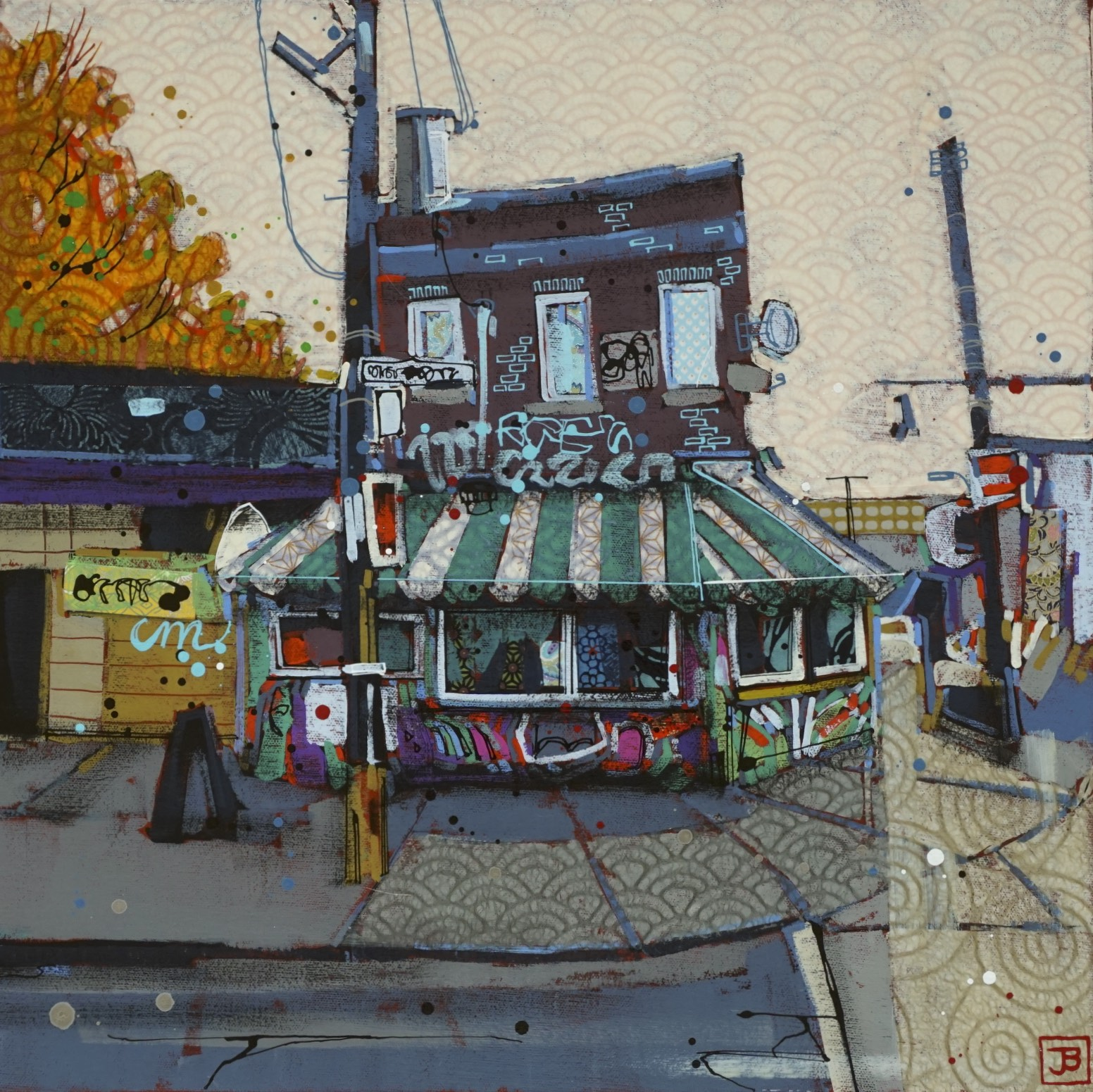 casa coffee, kensington market, TO,  mixed media on canvas, 18x18(in), $570 + GST,  2018
