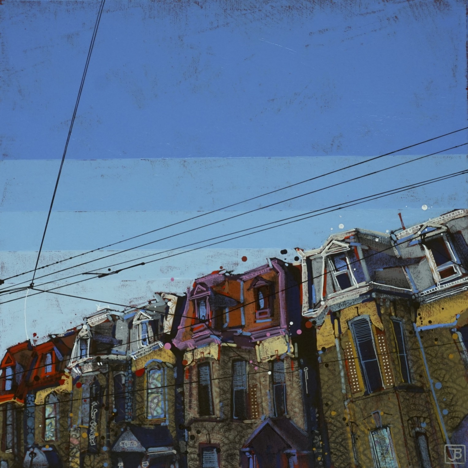 late afternoon, dundas street W, TO,  mixed media on canvas, 18x18(in), $570 + GST,  2018