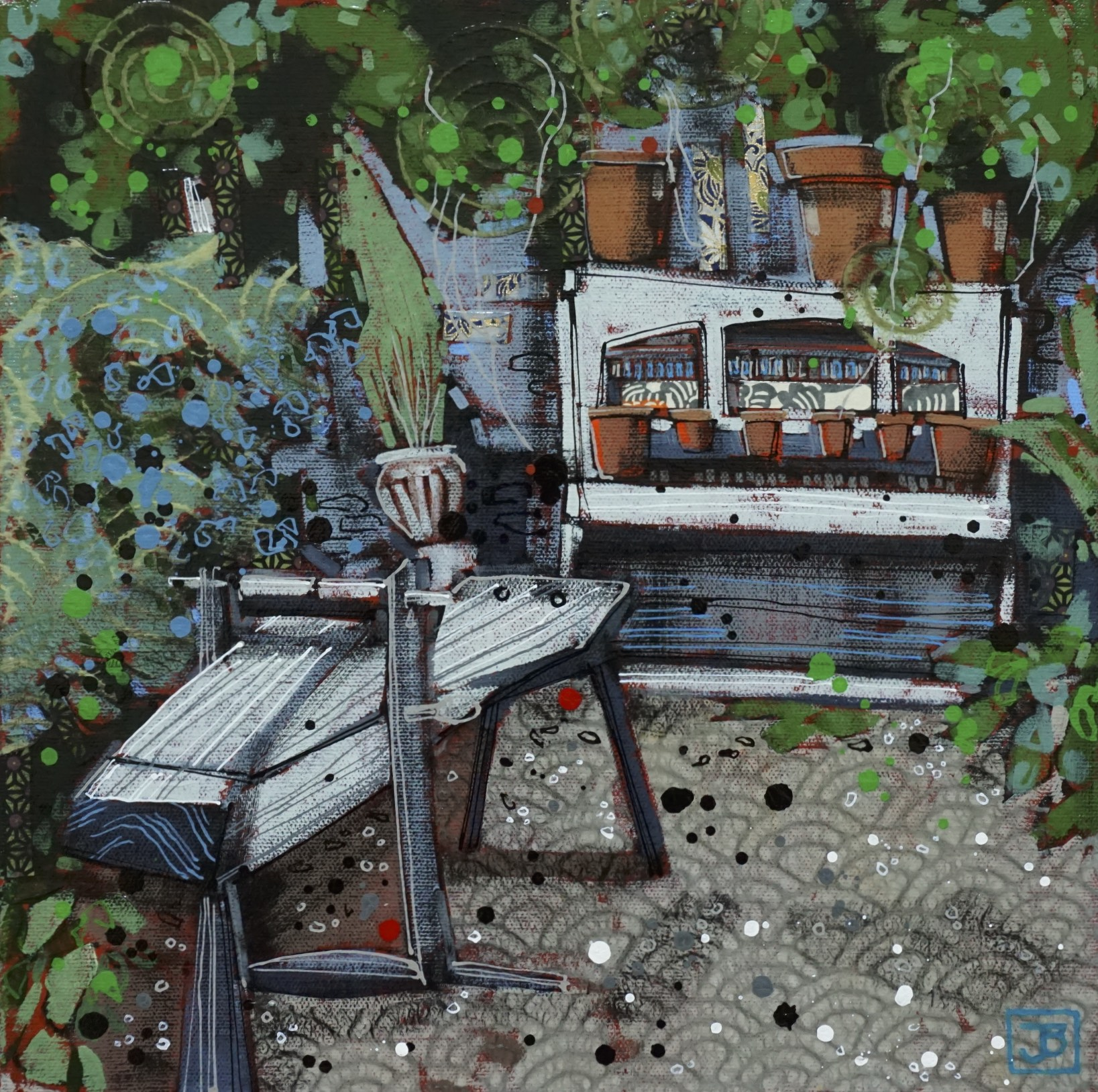 the garden piano, mells UK,  mixed media on canvas, 12x12(in),  SOLD ,  2018