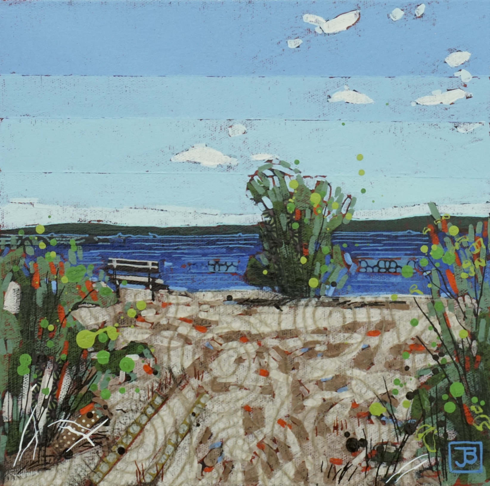 a clear july day, lac la biche, AB,  mixed media on canvas, 10x10(in), $175 + GST,  2018