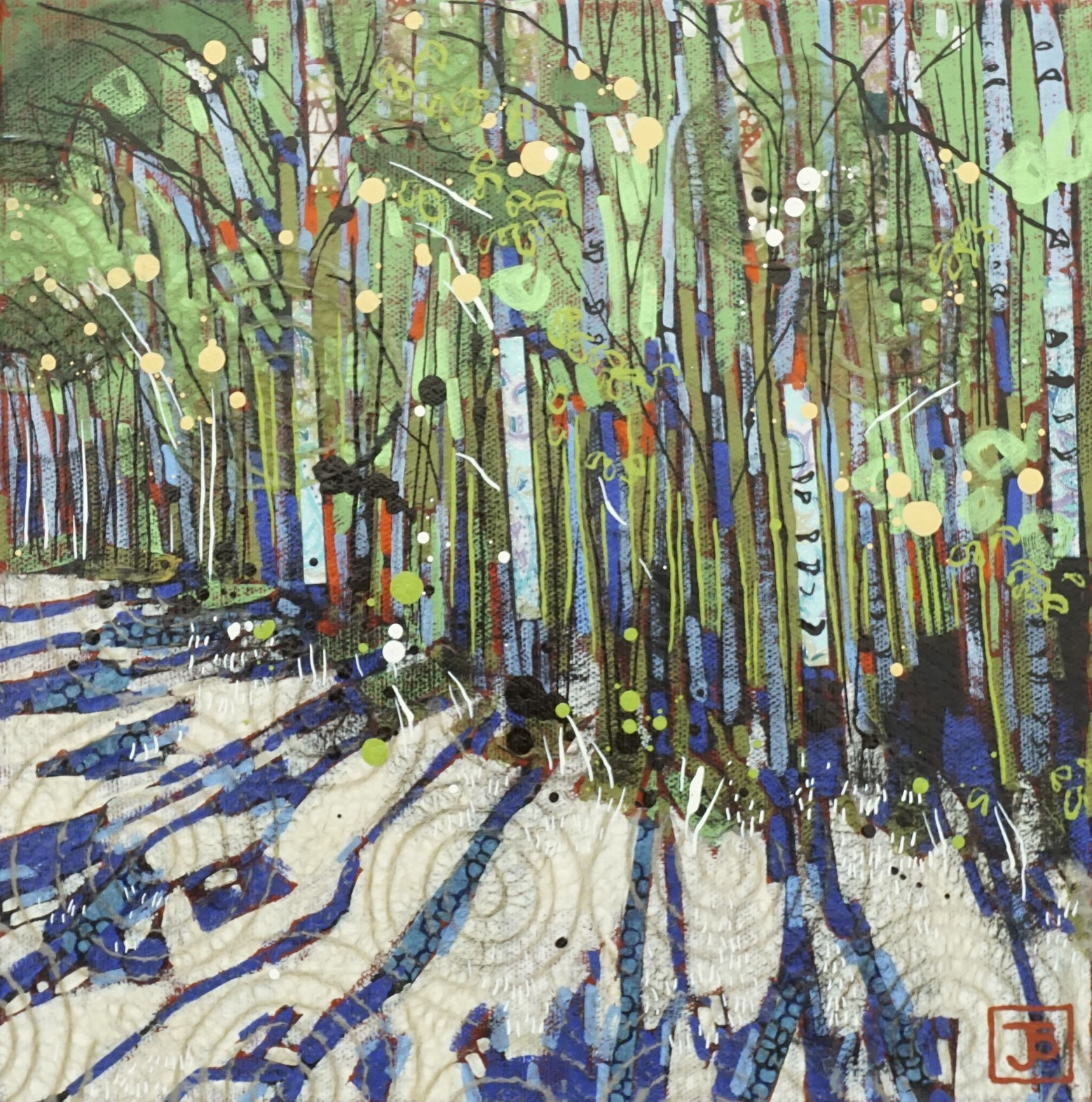 early spring, vermilion provincial park, AB,  mixed media on canvas, 10x10(in),  SOLD ,  2018