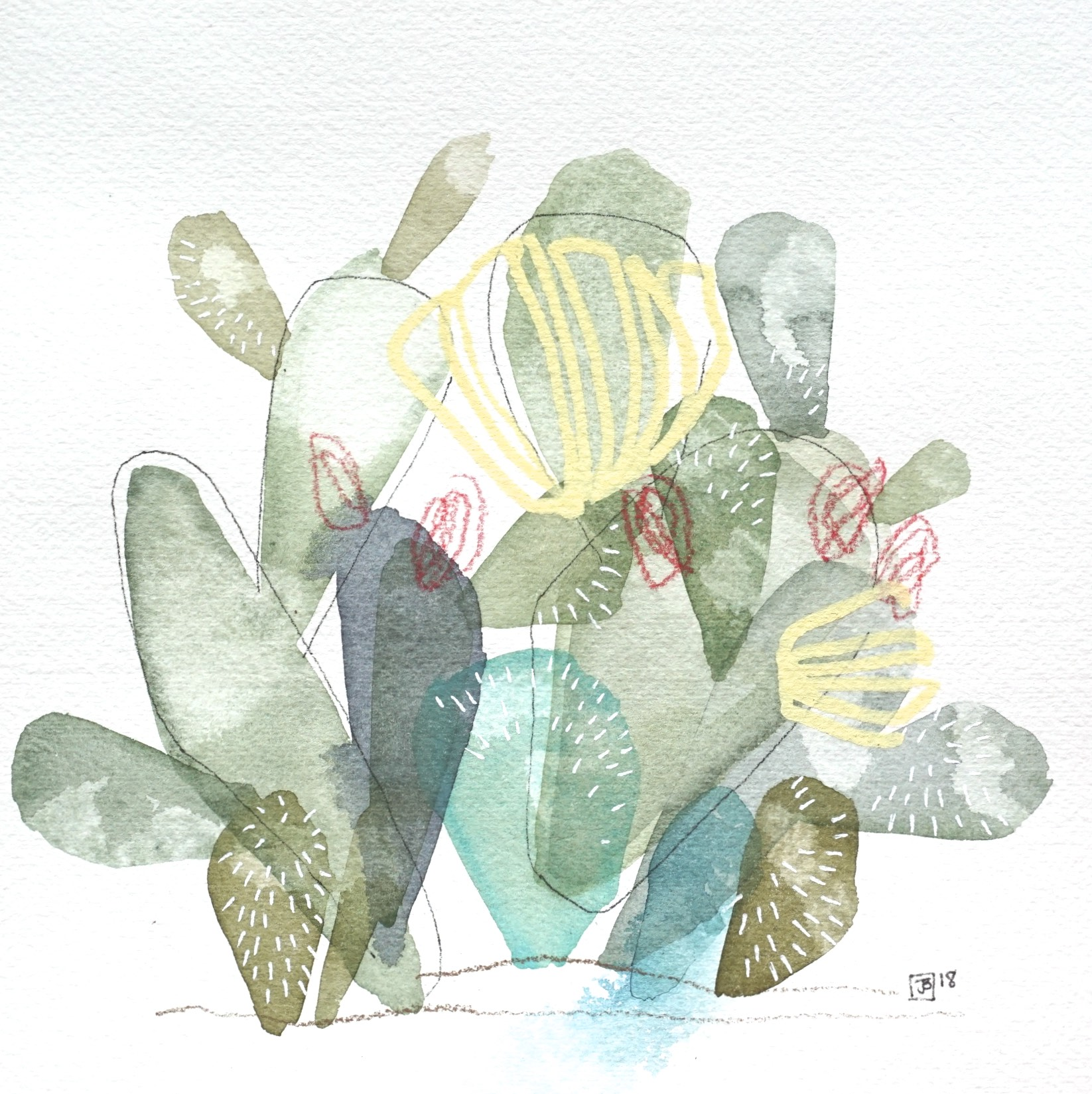 prickly pear I,  mixed media on cold pressed paper, 8x8(in),  SOLD ,  2018