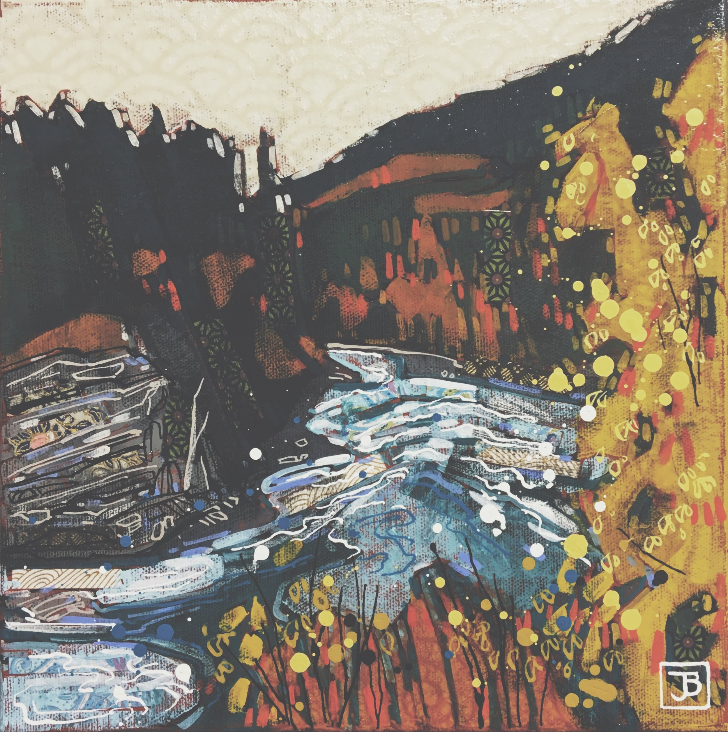after the falls, rearguard falls, BC,  mixed media on canvas, 10x10(in), $200 + GST,  2018
