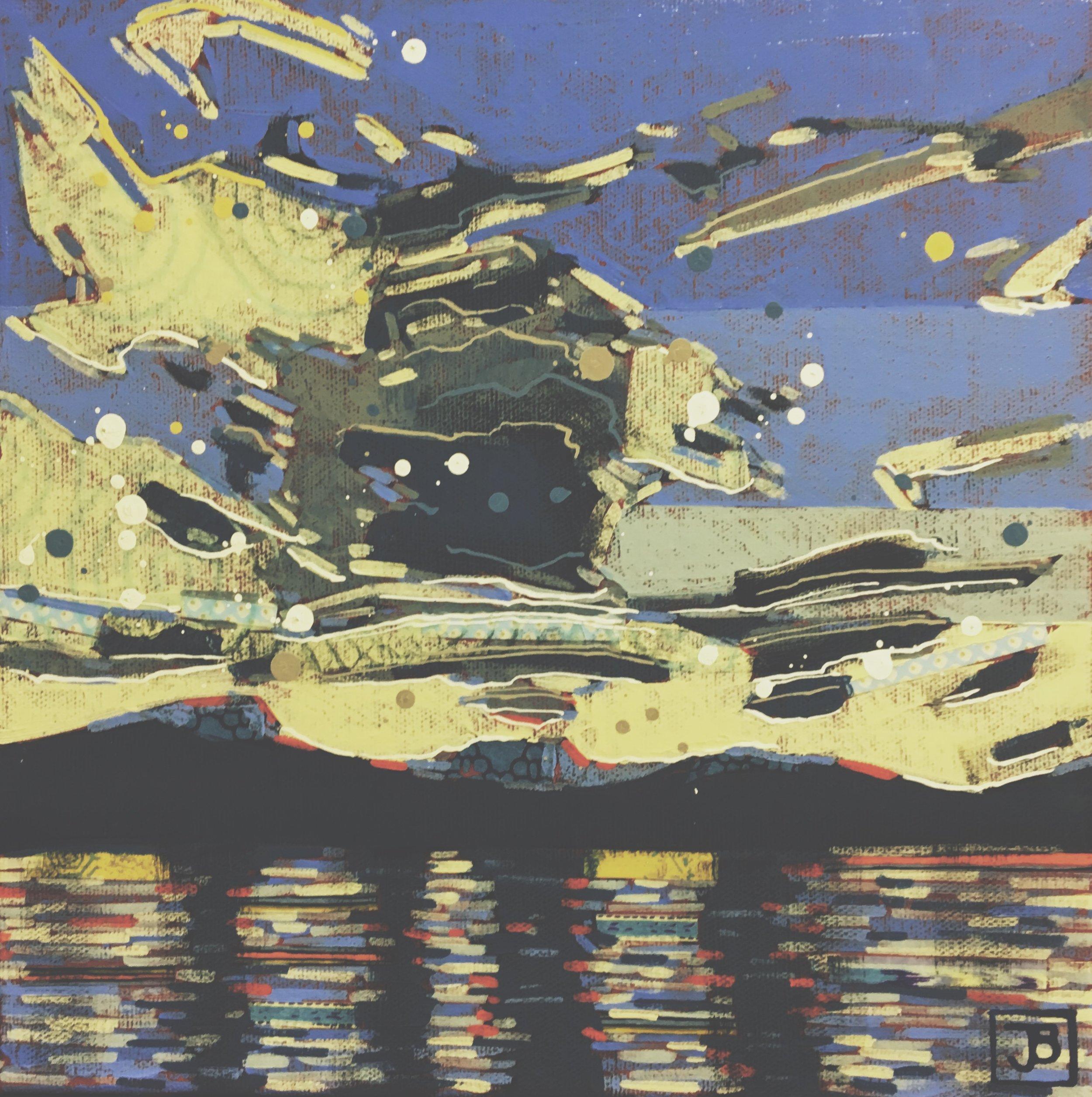 sunset, maligne lake, jasper national park,  mixed media on canvas, 10x10(in), $200 + GST,  2018