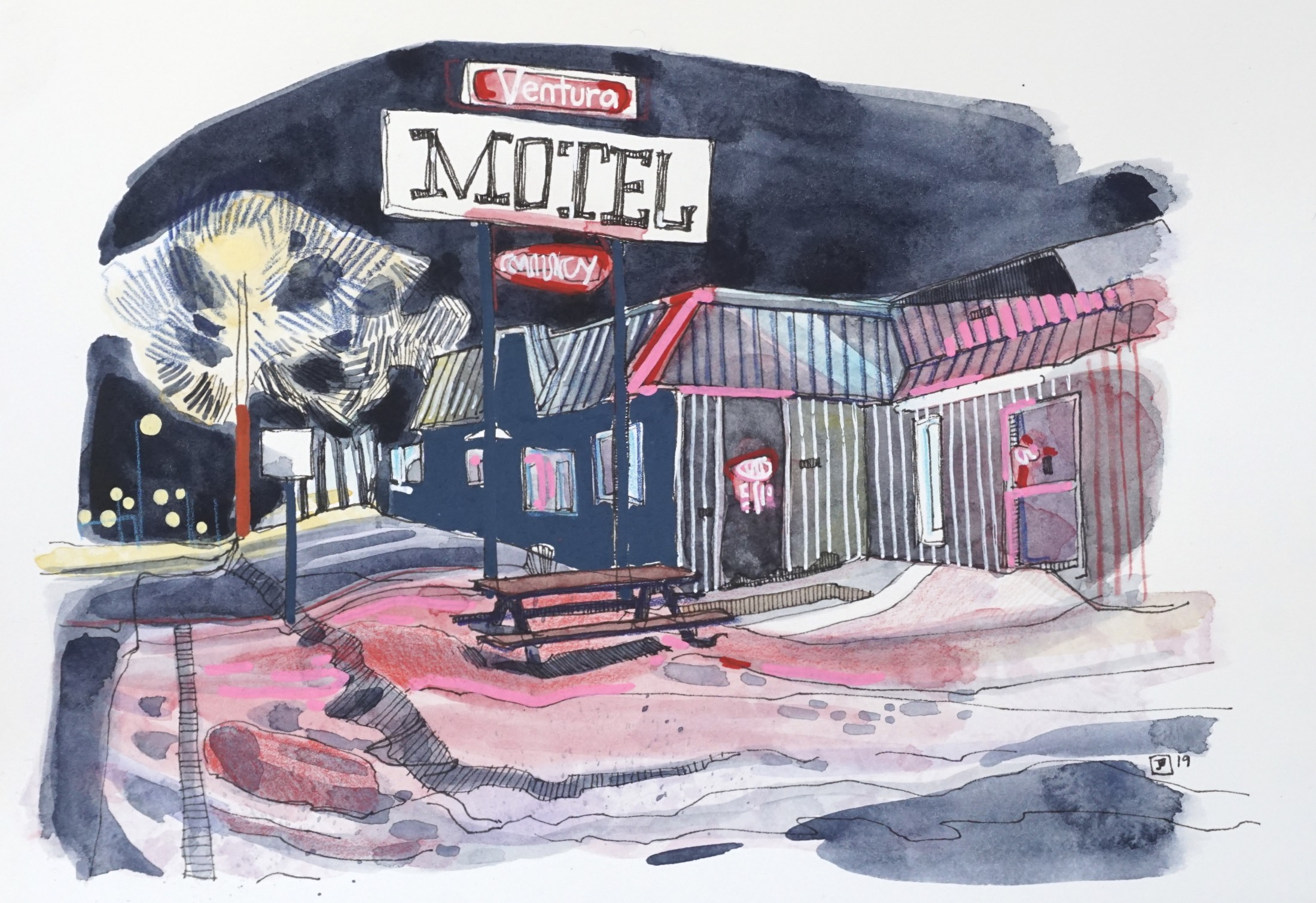 ventura motel, vermilion AB,  mixed media on hot pressed paper, 7x10 inches, $100 + GST,  2019