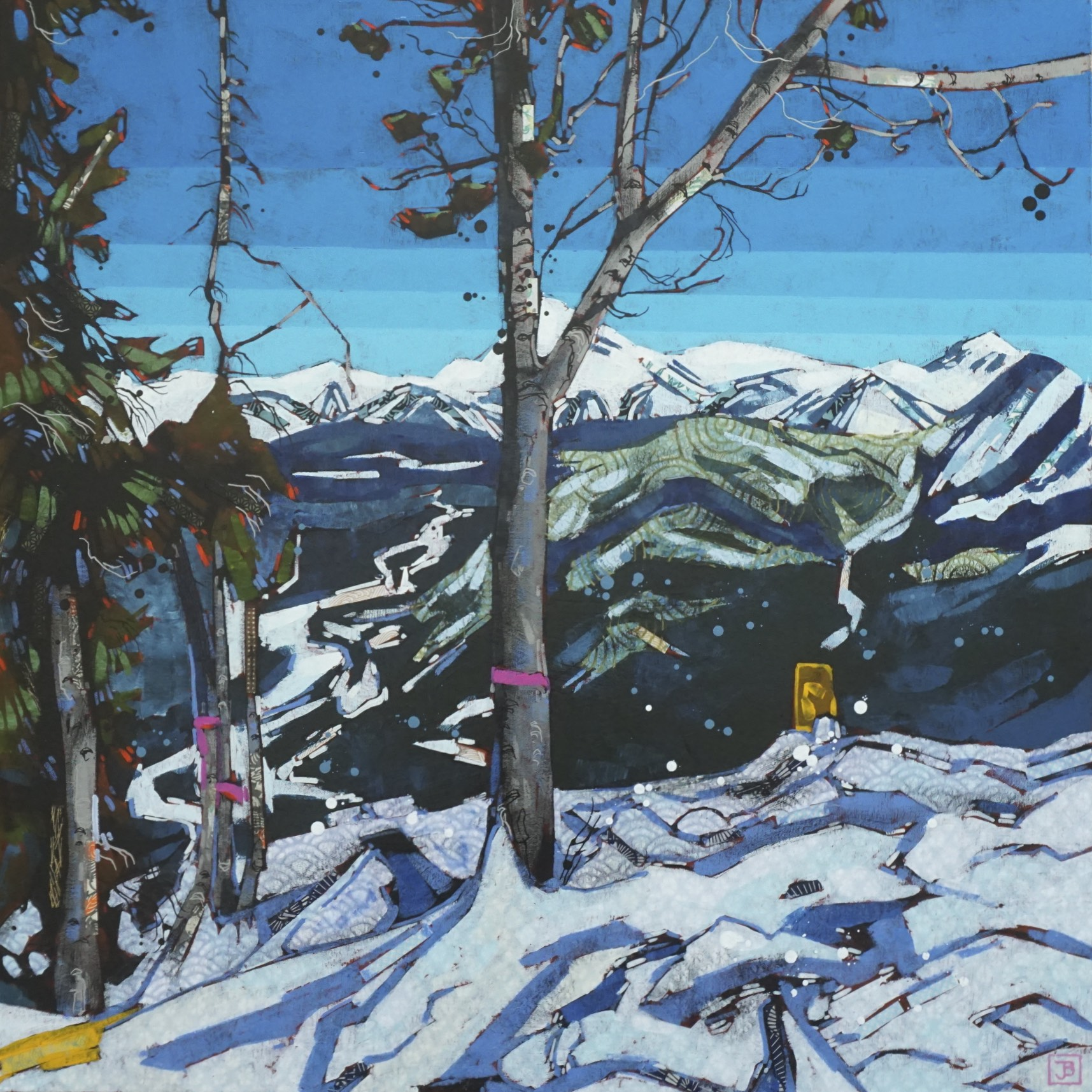 an obstructed view of the bow river valley from the top of sulphur mountain, banff national park   mixed media on canvas, 30x30(in), $1800 + GST,  2019