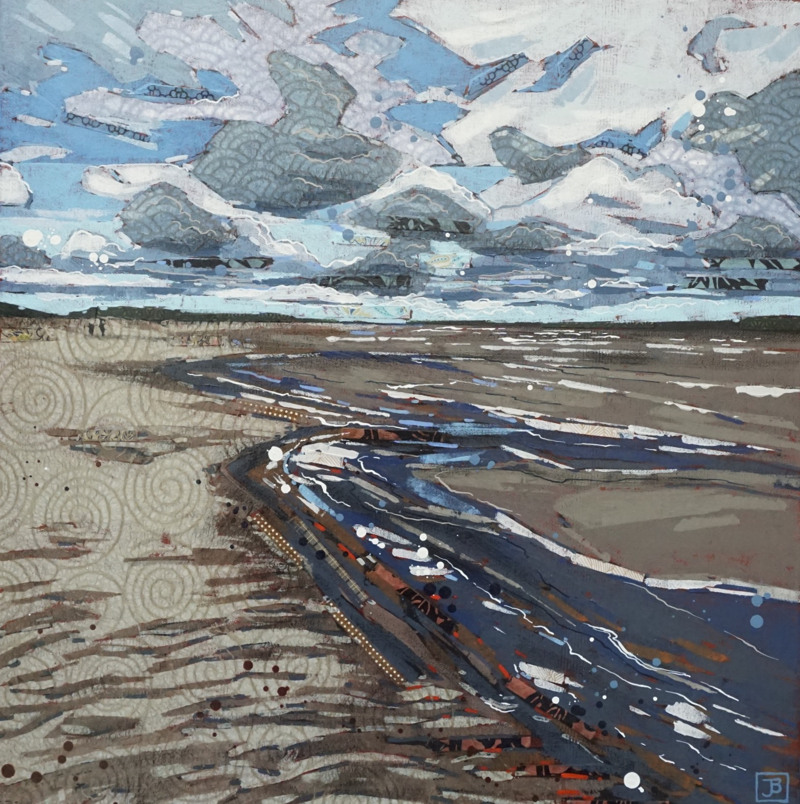 "this is not the sea; it's lake diefenbaker, SK,  mixed media on canvas, 20"" x 20"", $800 + GST,  2019"