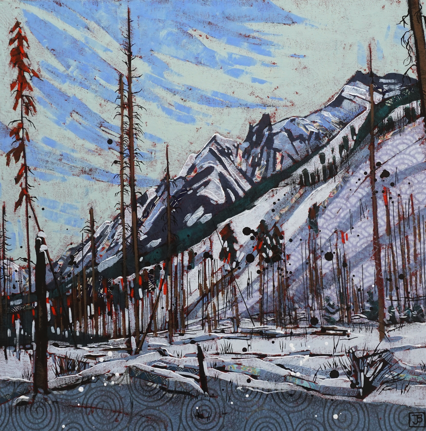 sawback prescribed burn area, bow valley parkway, banff national park, ab,  mixed media on canvas, 20x20(in), $800 + GST,  2019