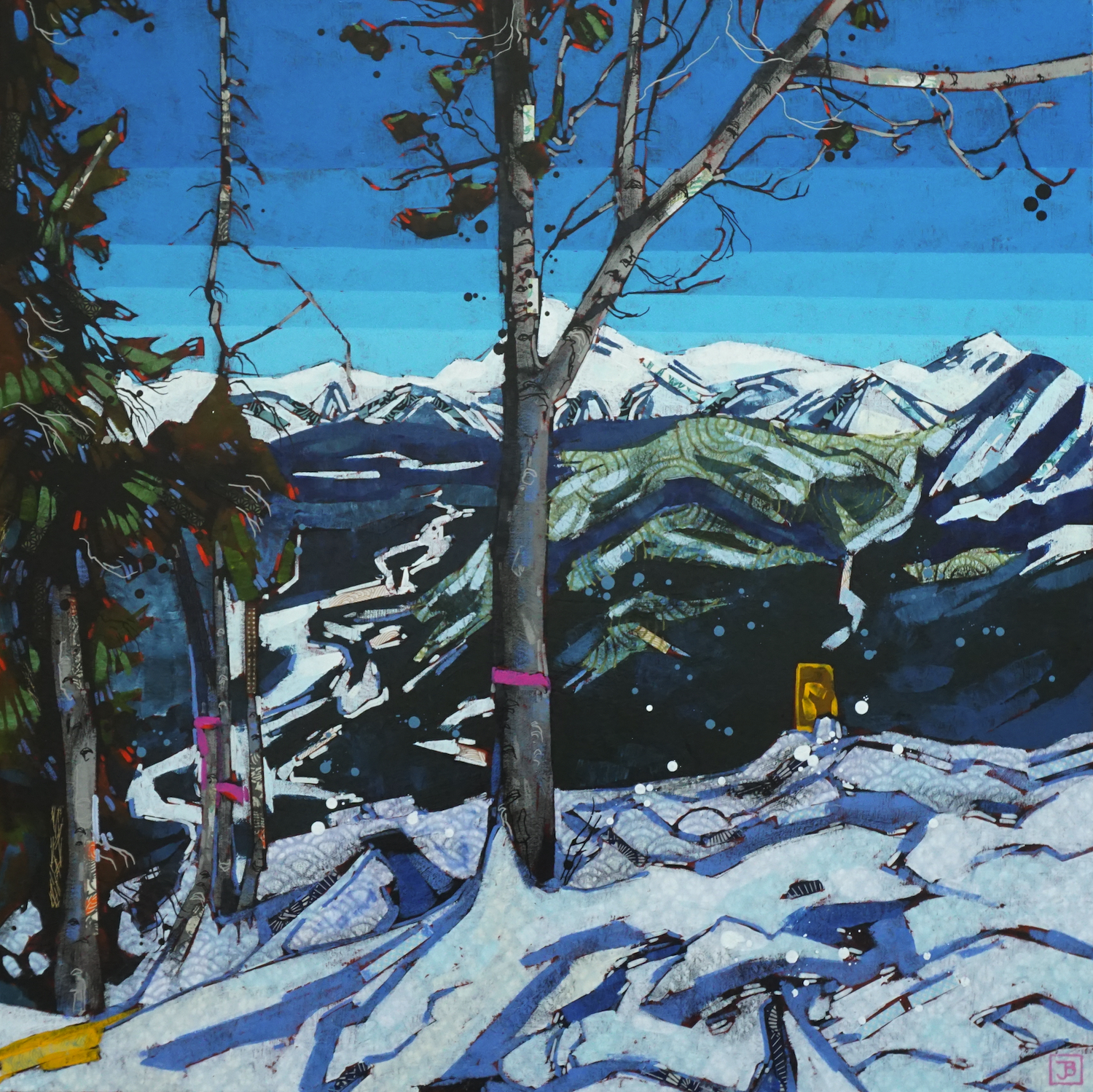 an obstructed view of the bow valley from the top of sulphur mountain, banff national park, ab,  mixed media on canvas, 30x30(in), $1800 + GST,  2019