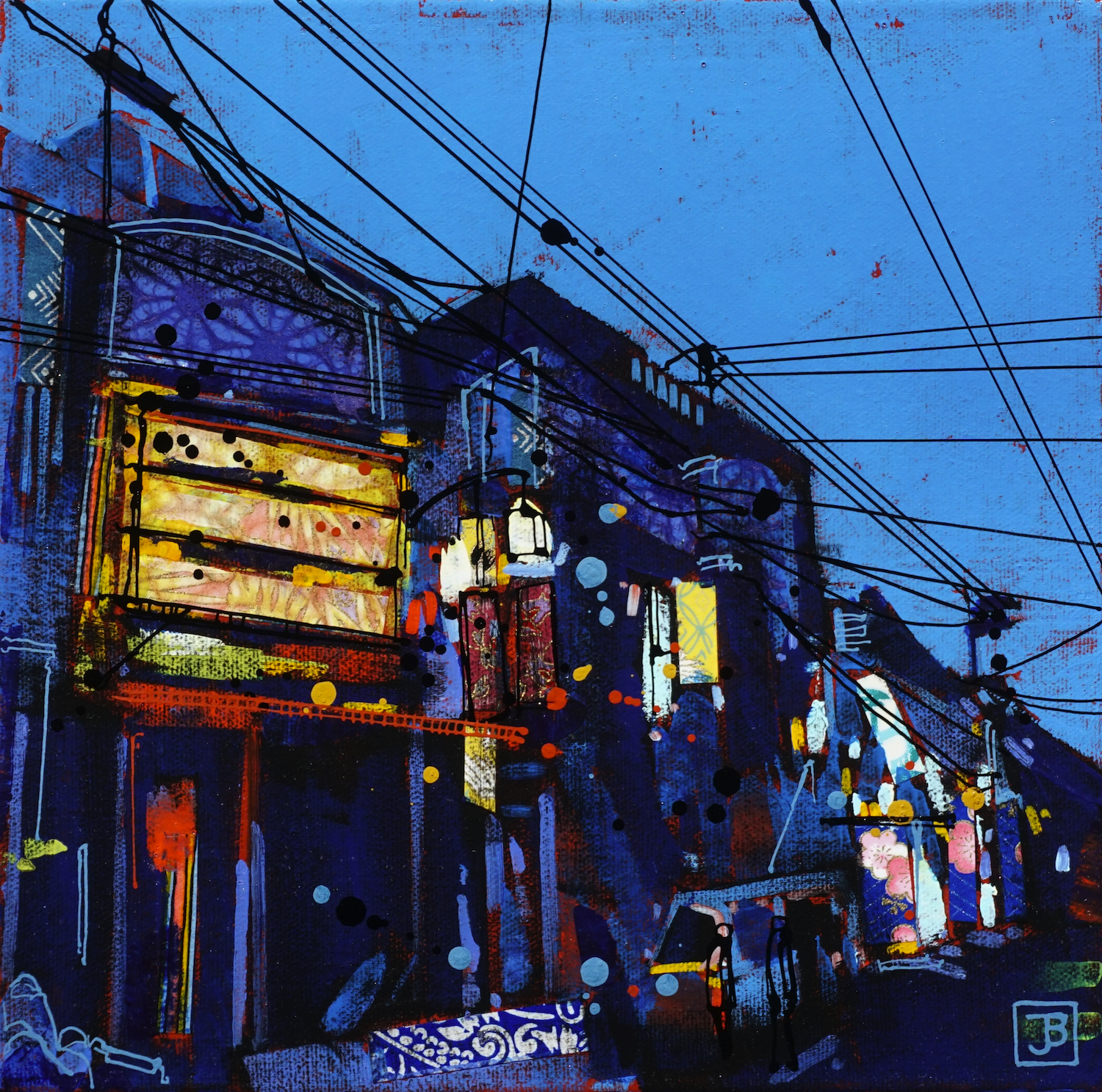 a kyoto street at night, japan,  mixed media on canvas, 10x10(in),  SOLD ,  2019
