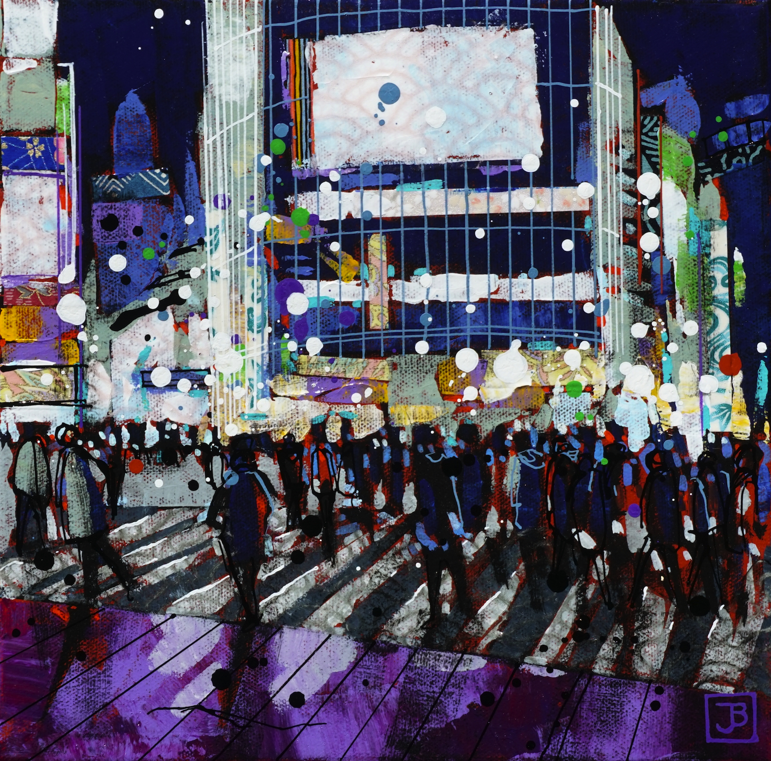 shibuya crossing, tokyo, japan,  mixed media on canvas, 10x10(in),  SOLD ,  2019