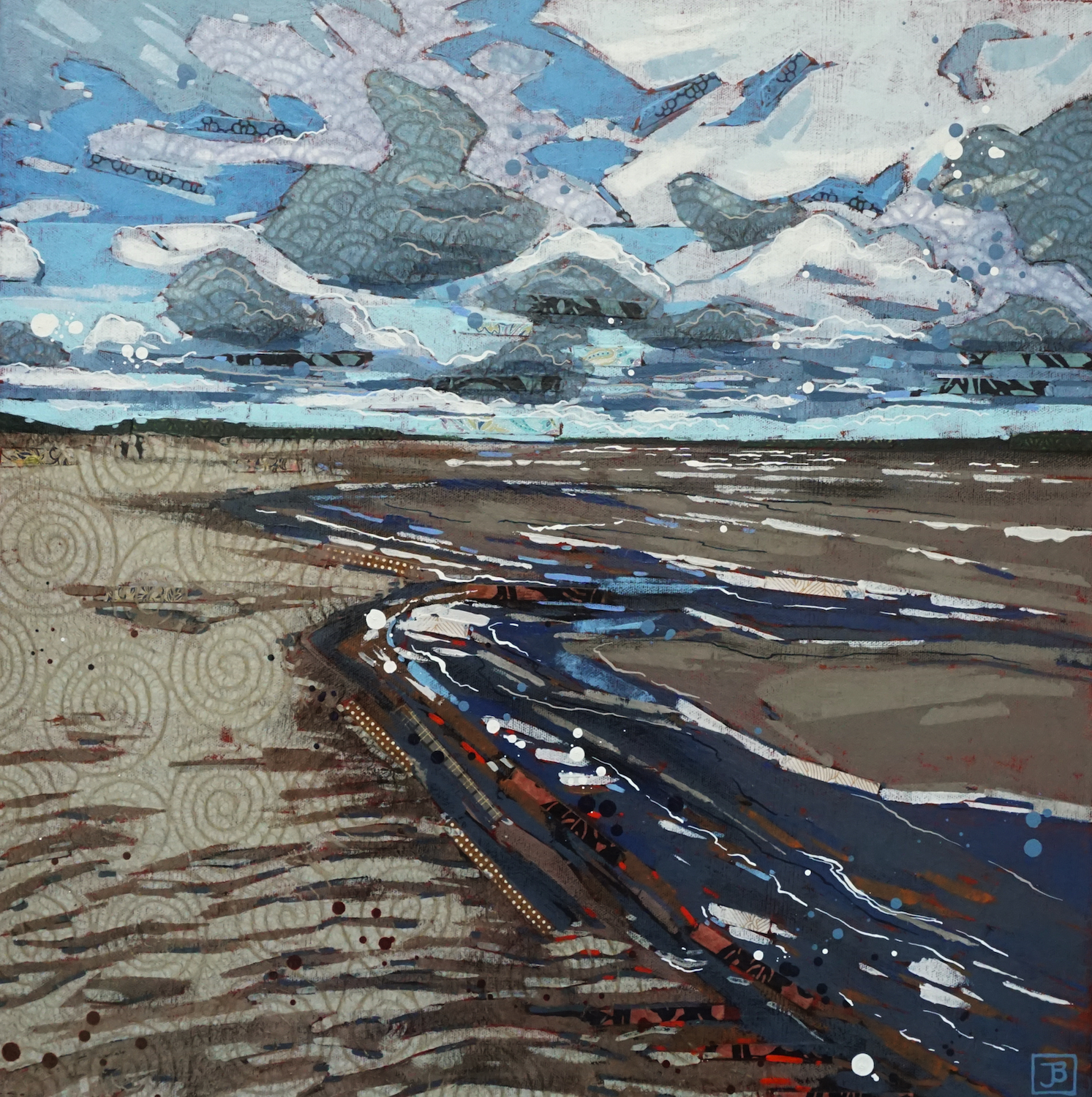 this is not the sea, it's lake diefenbaker, sk,  mixed media on canvas, 20x10(in), $800 + GST,  2019