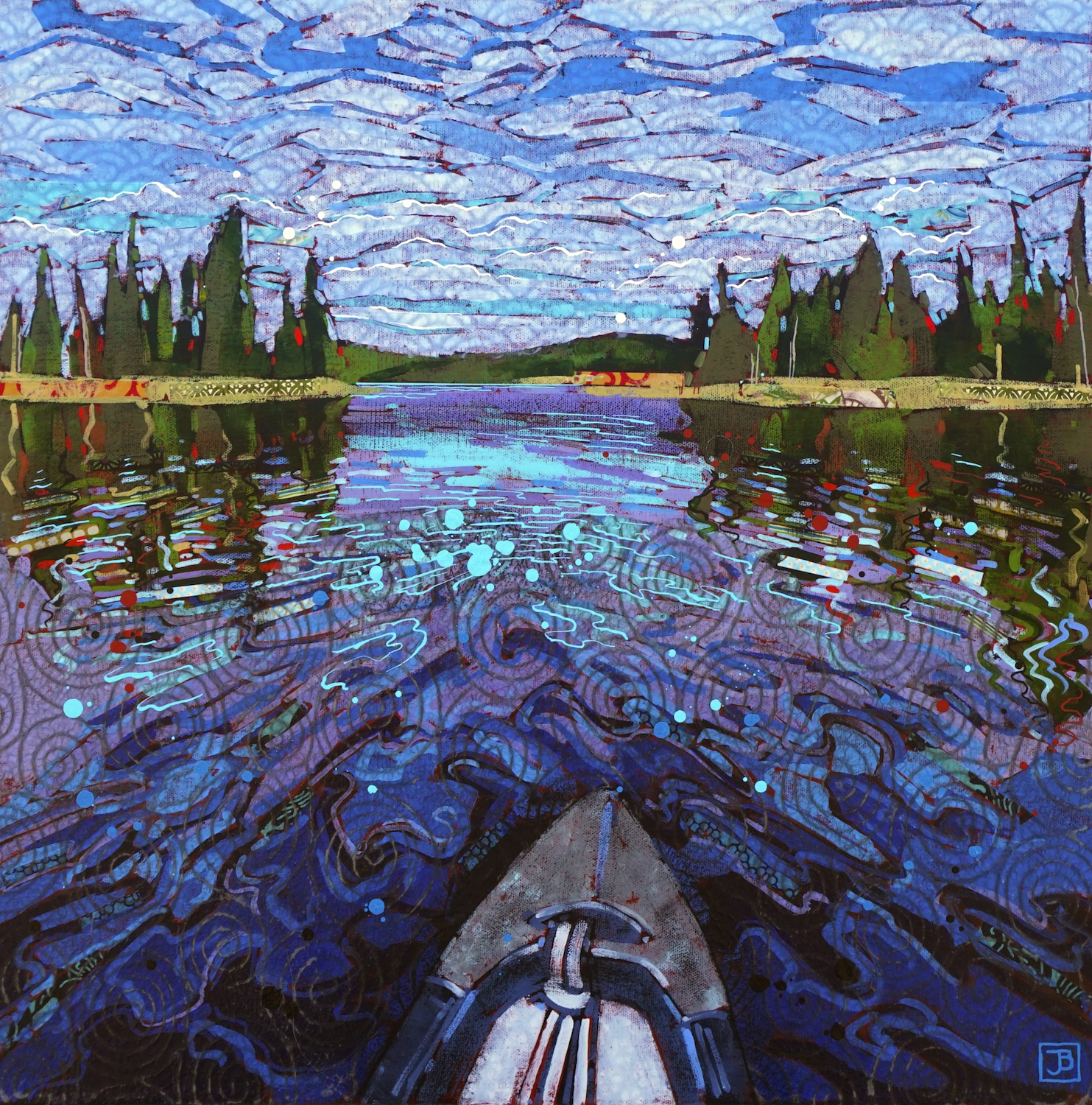 canoeing on falcon lake, mb,  mixed media on canvas, 20x20(in),  SOLD ,  2019