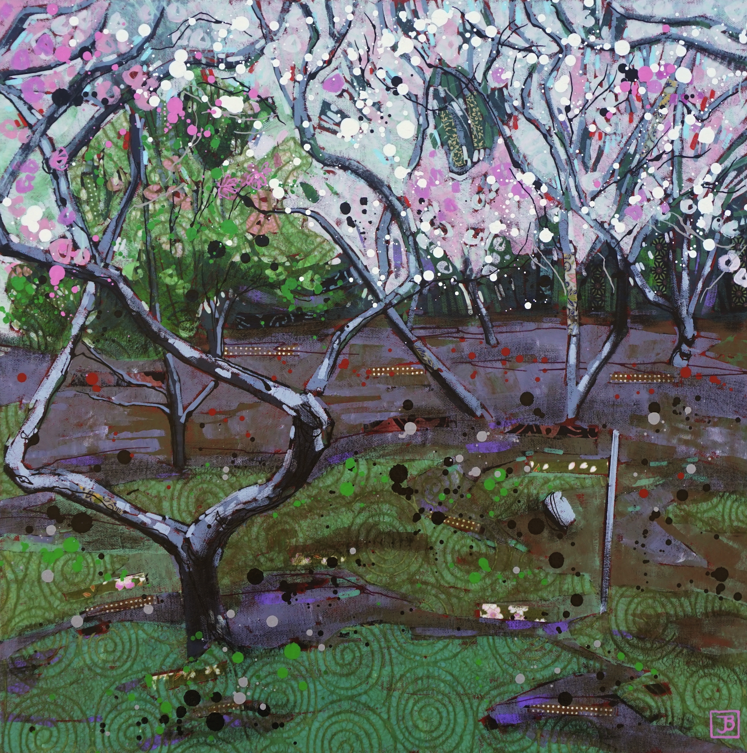 plum blossom, japan,  mixed media on canvas, 20x20(in), $800 + GST,  2019