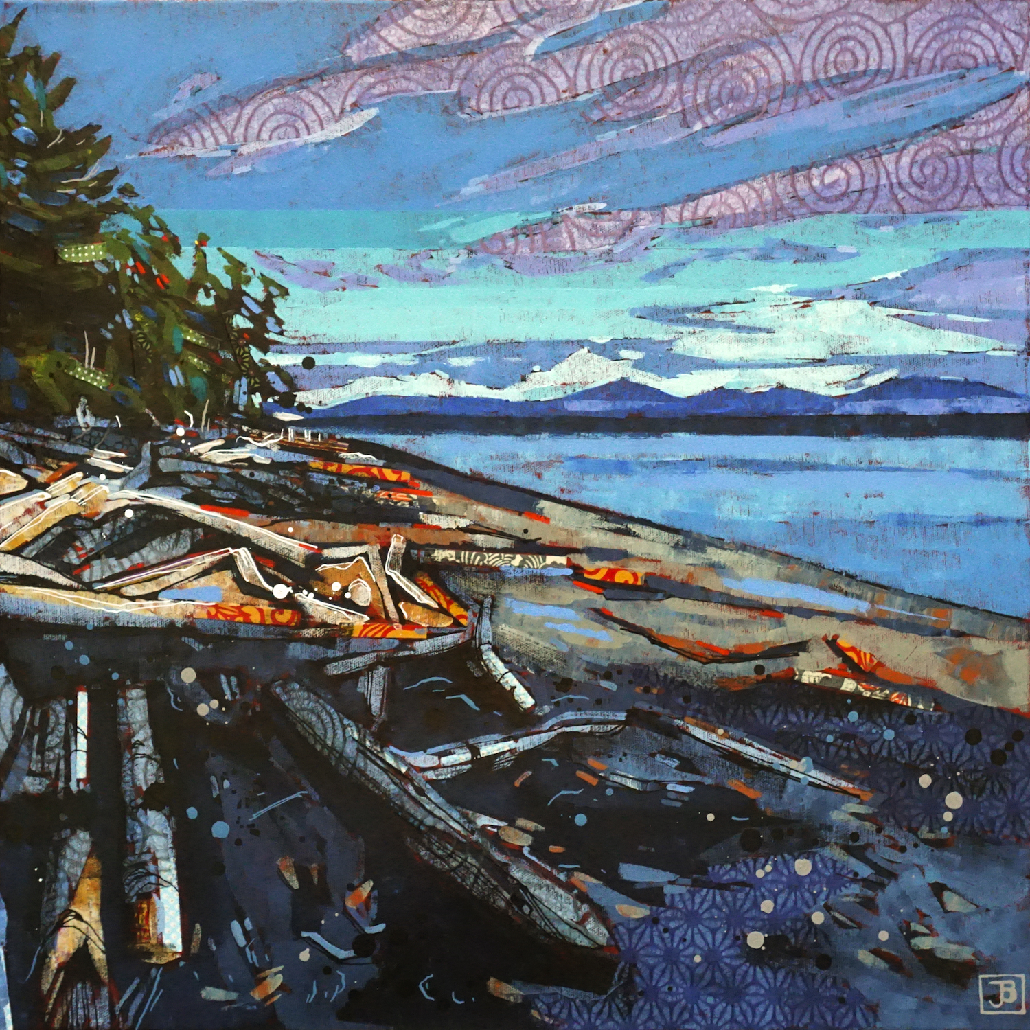 bere point, sointula bc II,  mixed media on canvas, 20x20(in), $800 + GST,  2019