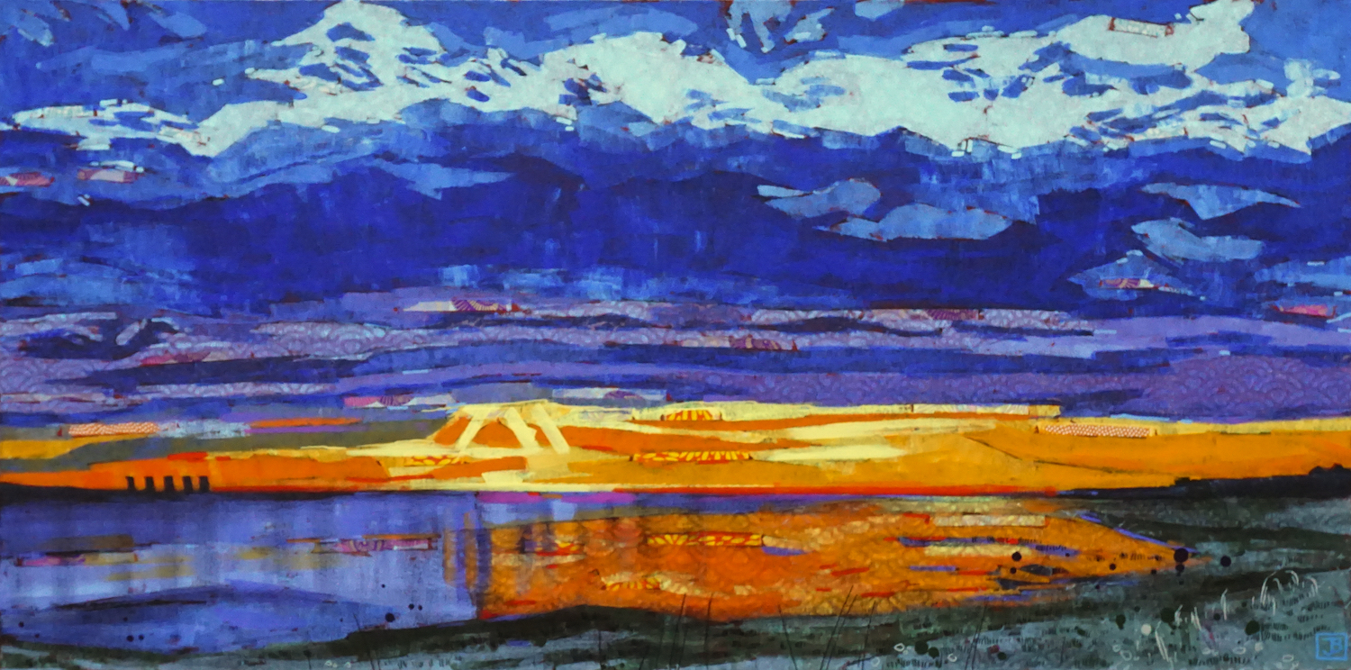 sunset on lake diefenbaker, sk,  mixed media on canvas, 18x36(in), $1300 + GST,  2019