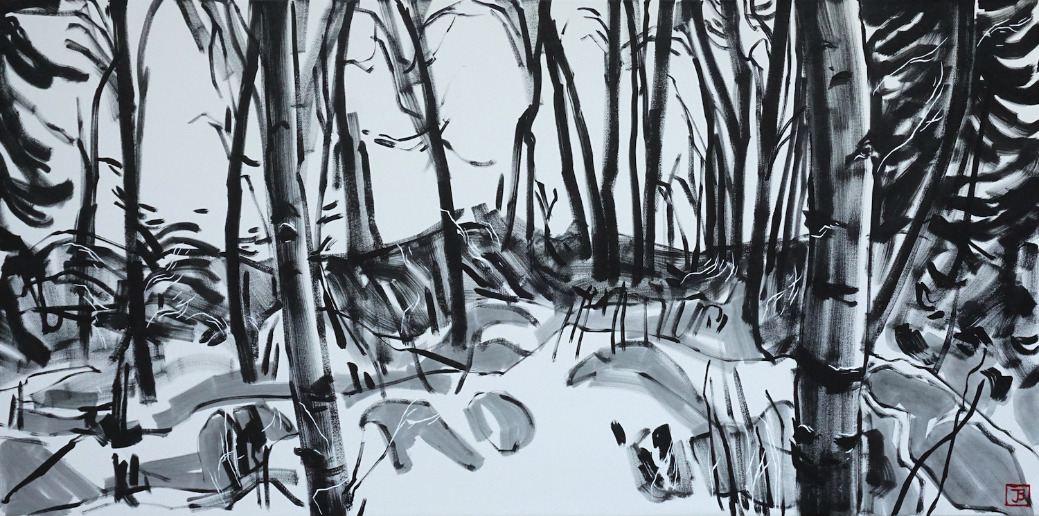 aspen & understory,  acrylic on canvas, 18x36(in), $1300 + GST,  2019