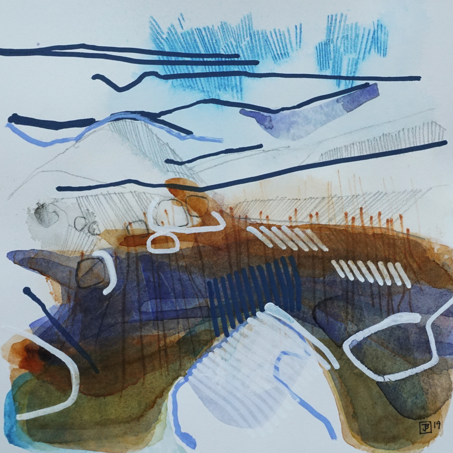 creek drawing I,  mixed media on paper, 8x8(in), $80 + GST,  2019